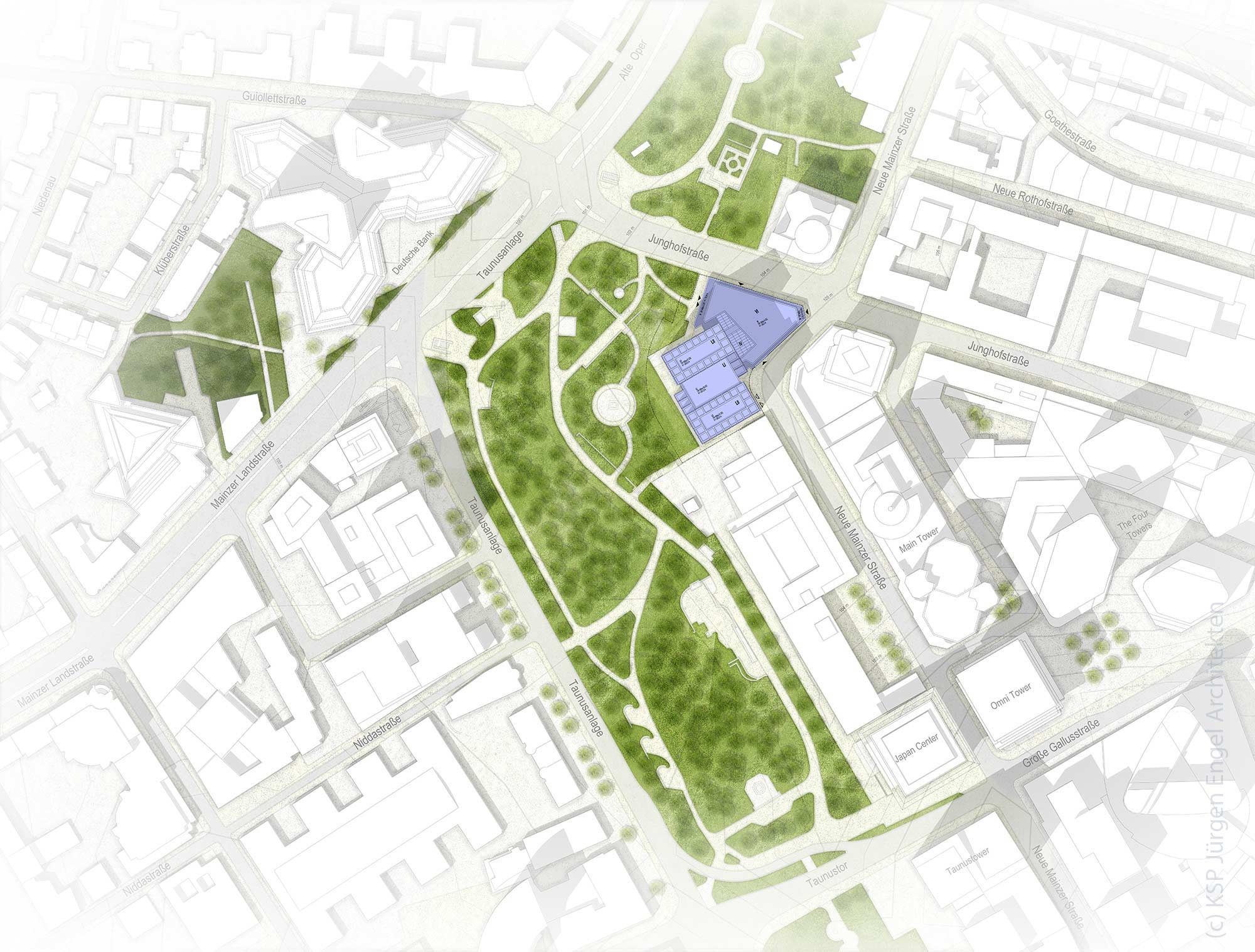 Lageplan Helaba Hochhaus Frankfurt - Neue Mainzer Straße - Makro