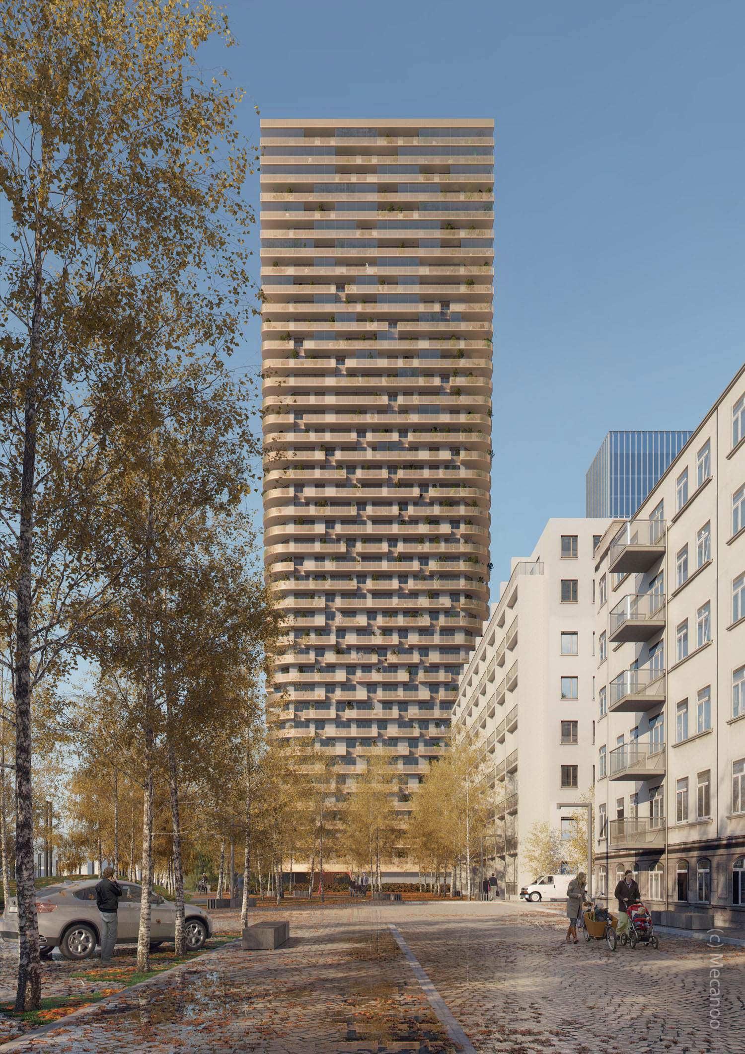 Geplanter Wohnturm in Frankfurt am Main im Projekt Grand Central von Groß und Partner sowie PHOENIX Real Estate Development