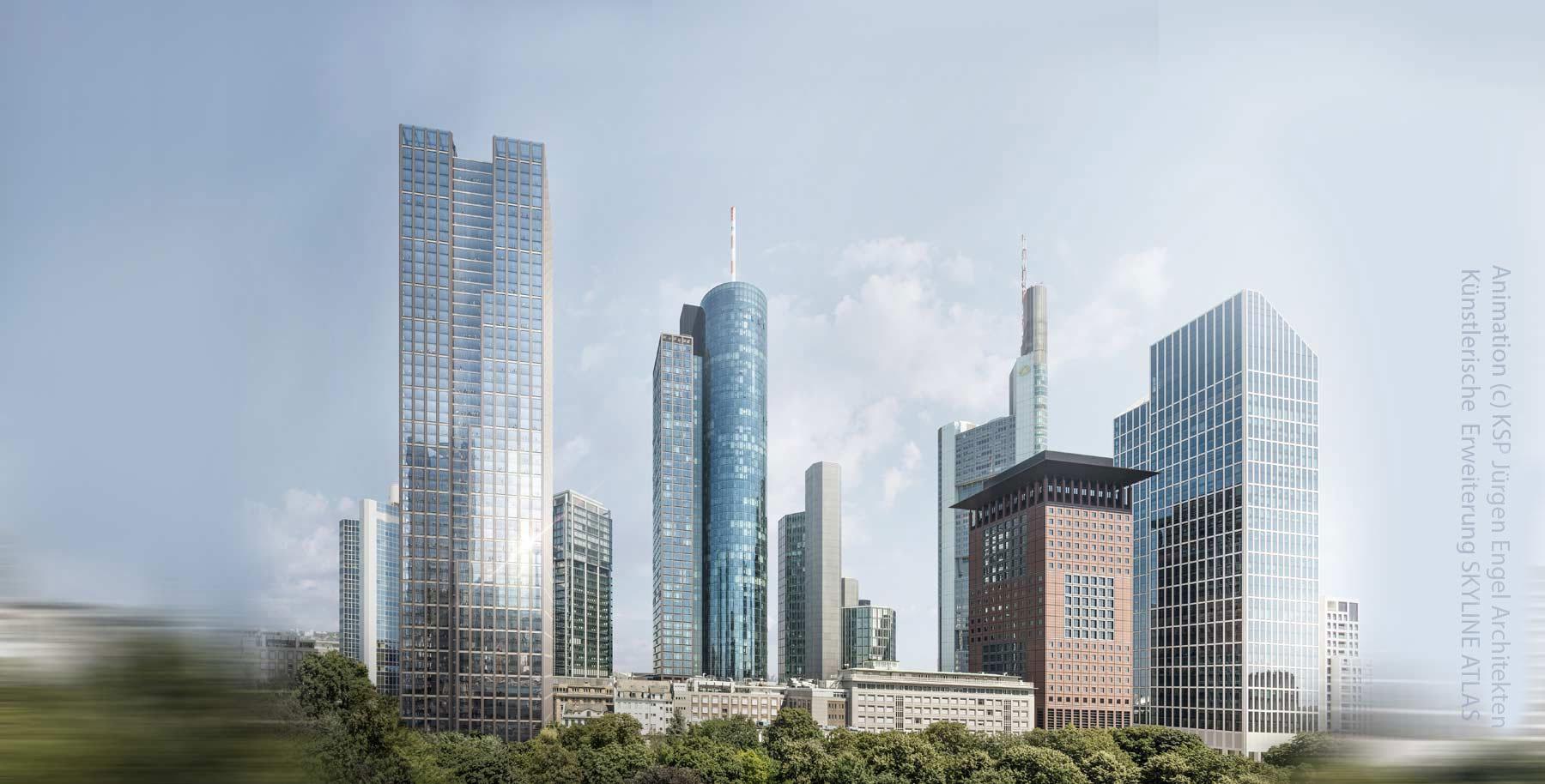 Helaba Hochhaus in Frankfurt am Main - ehemalige Frankfurter Sparkasse 1822 und Württemberger Hypothekenbank Projekt - KSP Jürgen Engel Architekten - Animation 2019