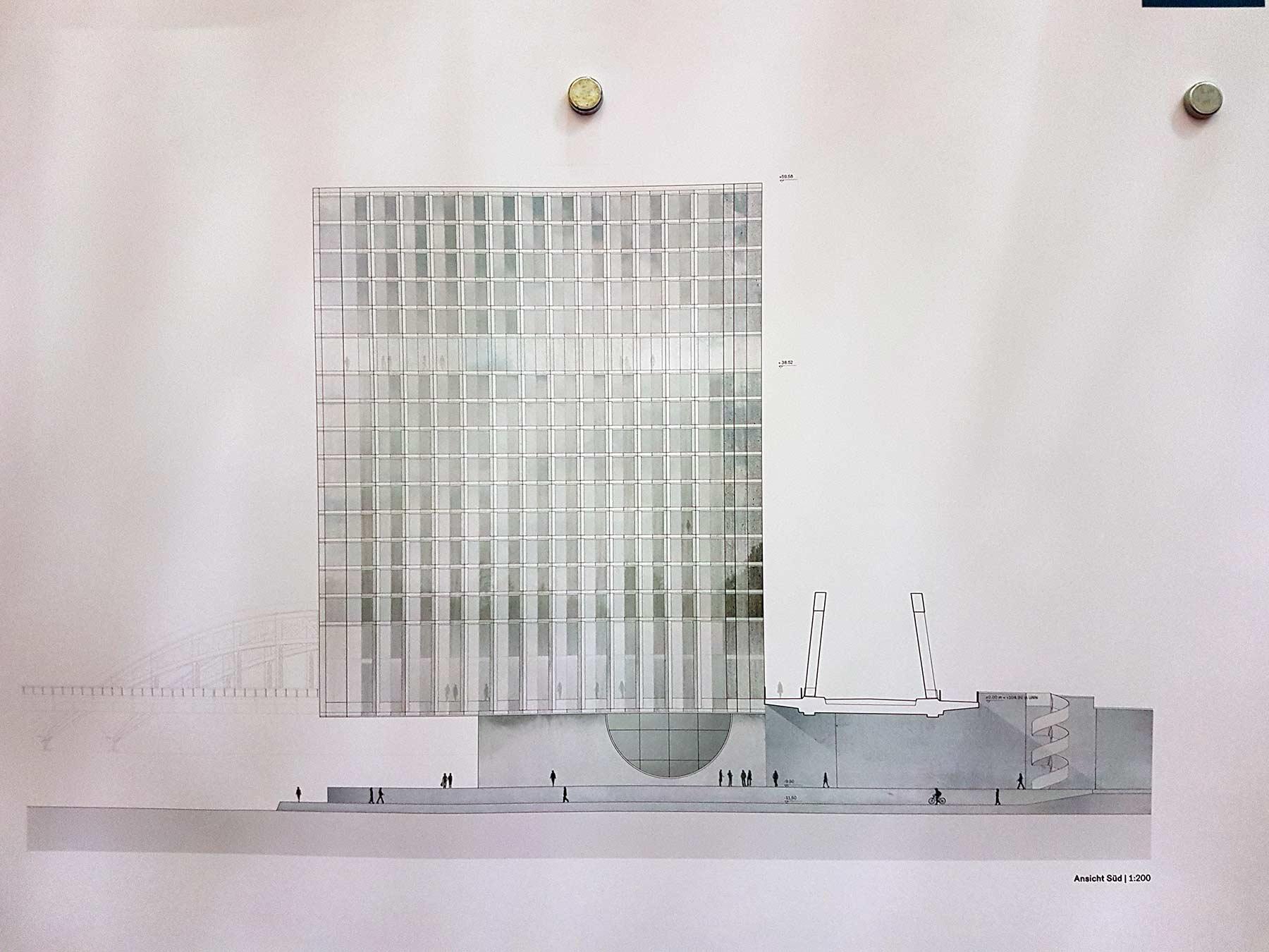 Waterfront Ansicht Süd - Ausstellung beim Planungsdezernat der Stadt Frankfurt - 1. Platz