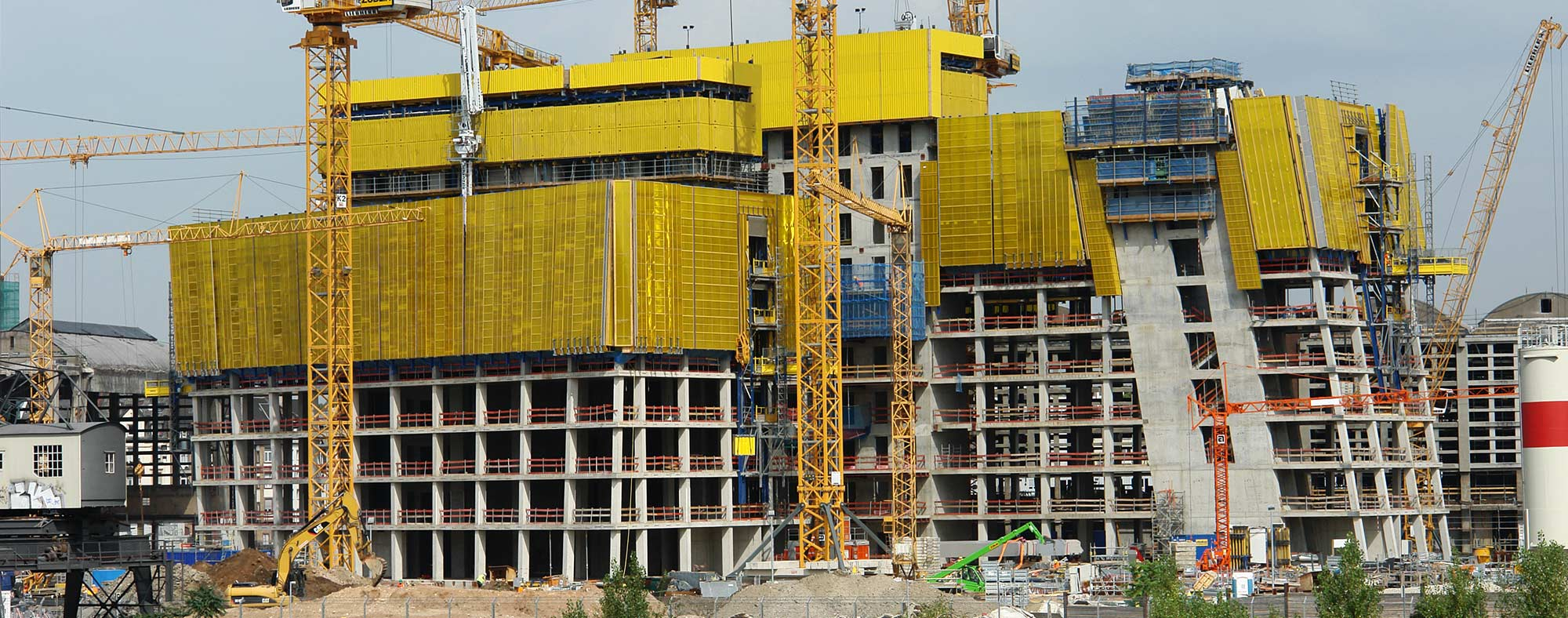 Hochhaus der EZB in Frankfurt - als die Europäische Zentralbank gebaut wurde - Baustelle im August 2011