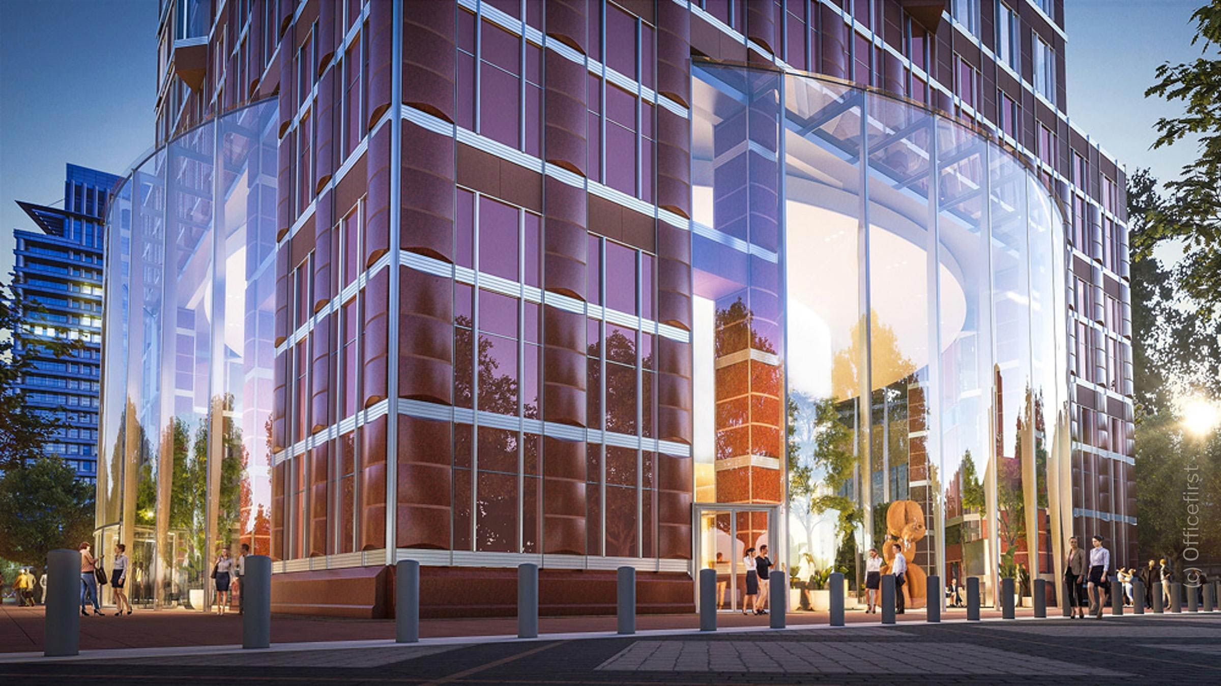MesseTurm Frankfurt - Umbau und Revitalisierung - Rendering der geplanten Umbauten an der Lobby (c) Officefirst
