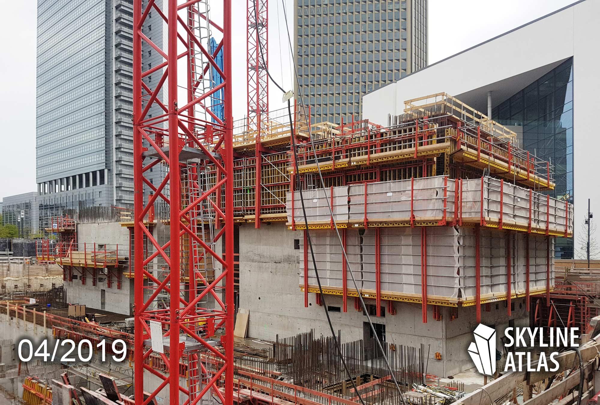 ONE - Hochhaus in Frankfurt - Wolkenkratzer im Bau - CA Immo Projektentwickler - Bauarbeiten - April 2019
