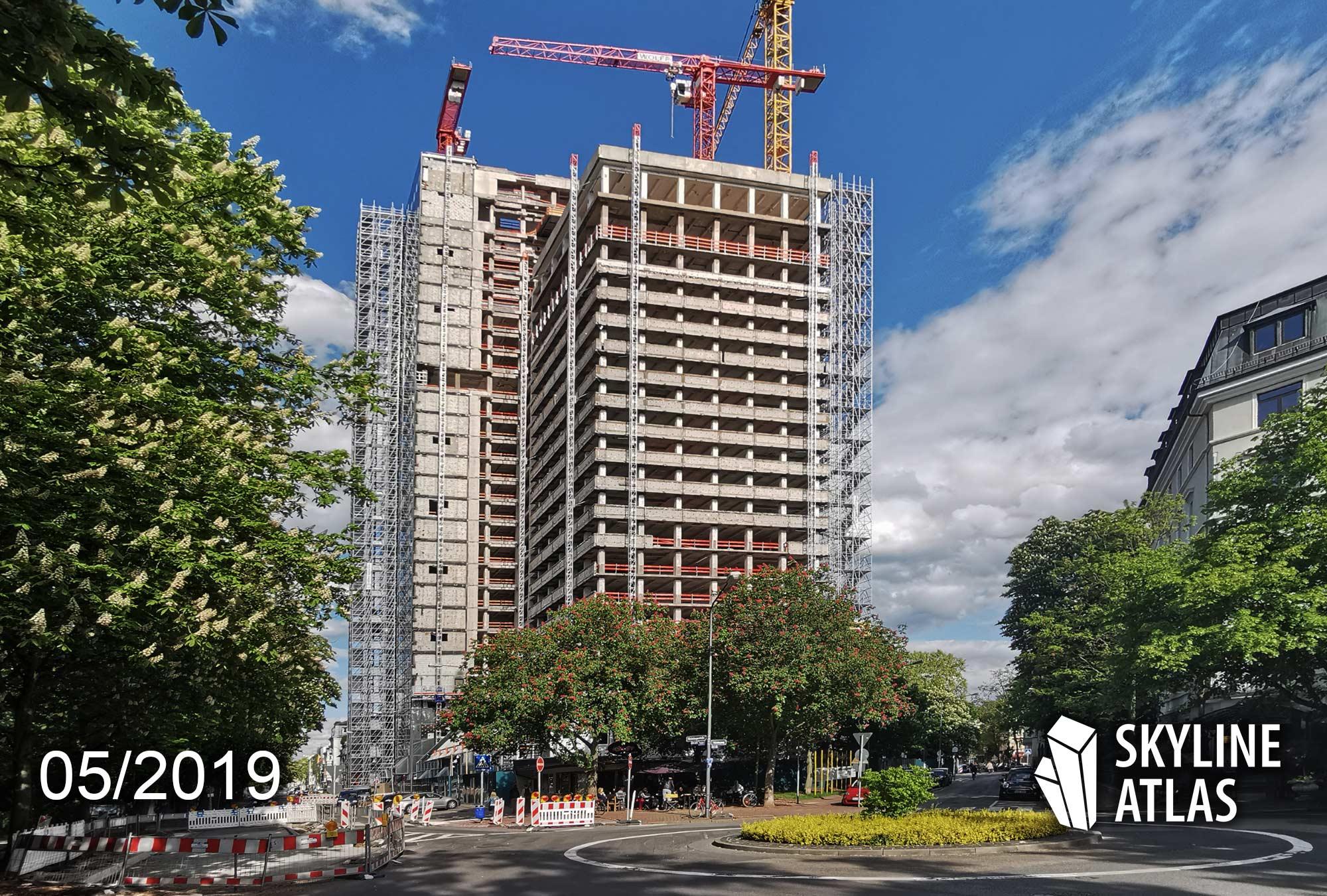160 Park View Frankfurt Hotel - Hochhaus im Bau - Mai 2019 - Hotelhochhaus