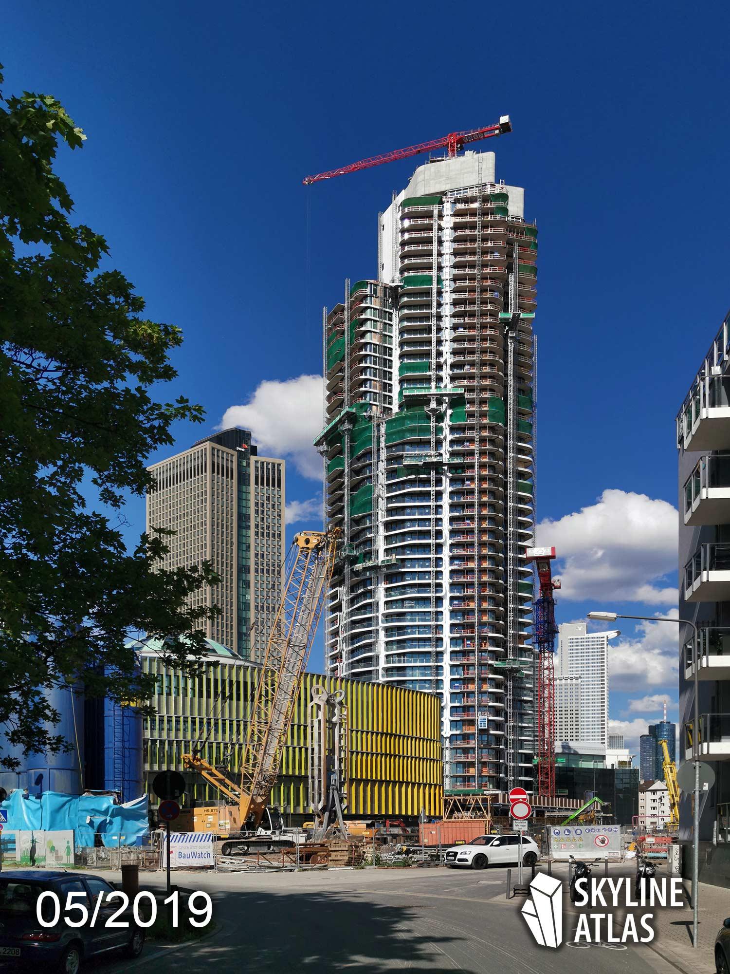 Grand Tower in Frankfurt - Deutschlands höchster Wohnturm - Eigentumswohnungen - Luxuswohnungen - Neubau - Baustelle Mai 2019