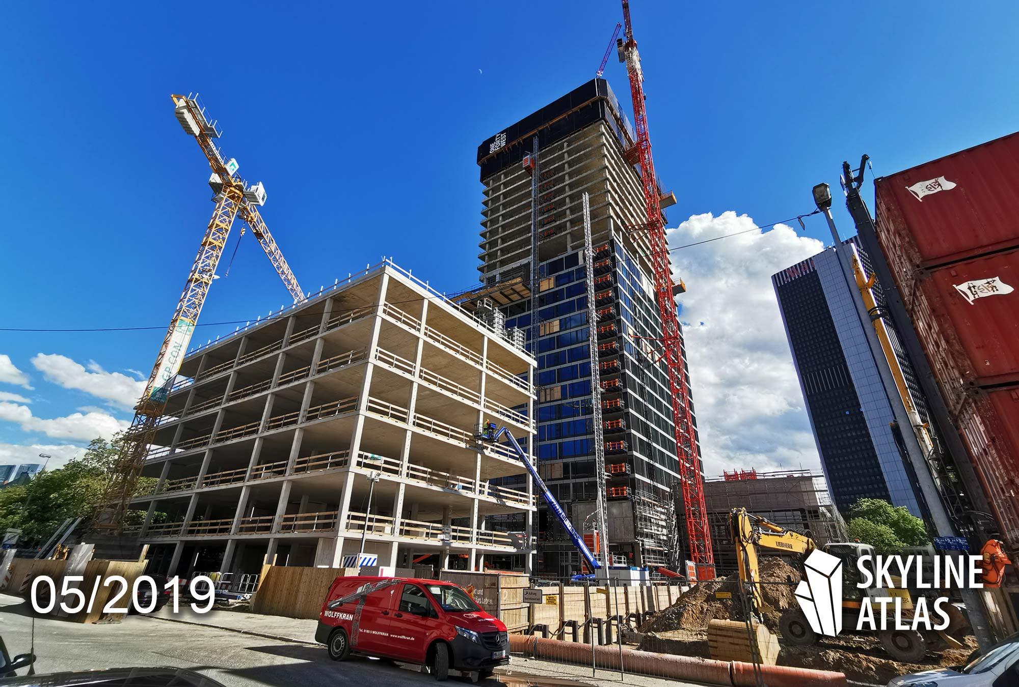 ONE FORTY WEST - 140 West - Hochhaus der hausinvest - Projekt der Commerz Real - Frankfurt Wohnturm - Hochhaus-Baustelle im Mai 2019