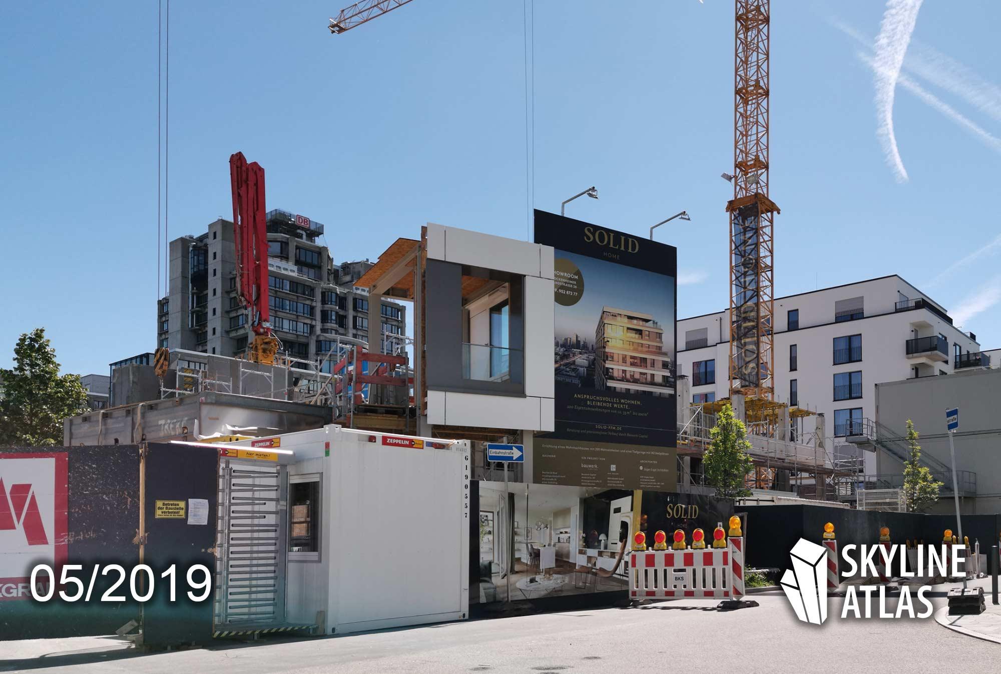 SOLID HOME Frankfurt - Neues Wohnhochhaus im Europaviertel - Luxuswohnungen - exklusive Eigentumswohnungen - Baustelle Mai 2019