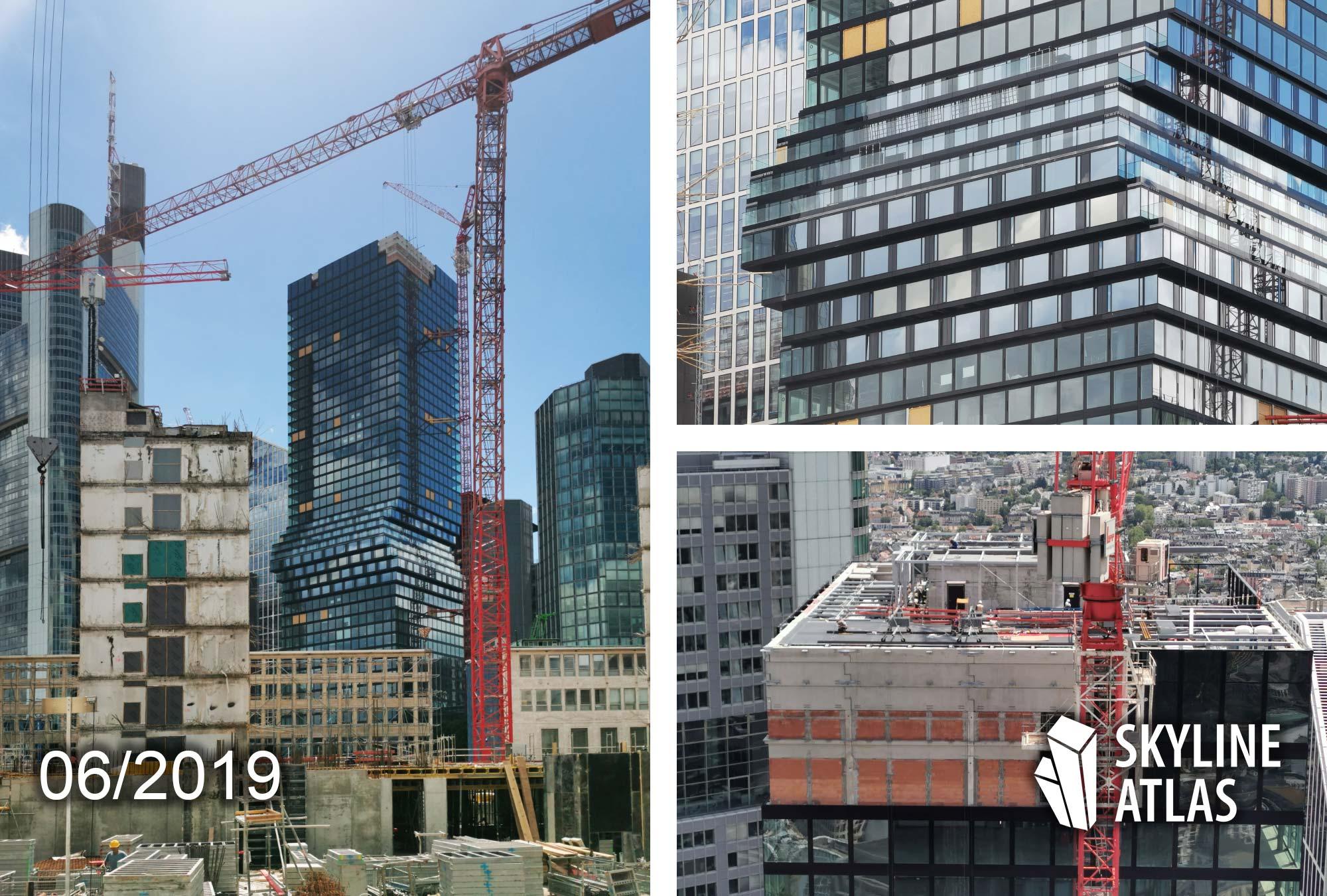 OmniTurm Frankfurt - Glaswolkenkratzer entworfen von BIG Bjarke Ingels Architekten - Baustelle im Juni 2019
