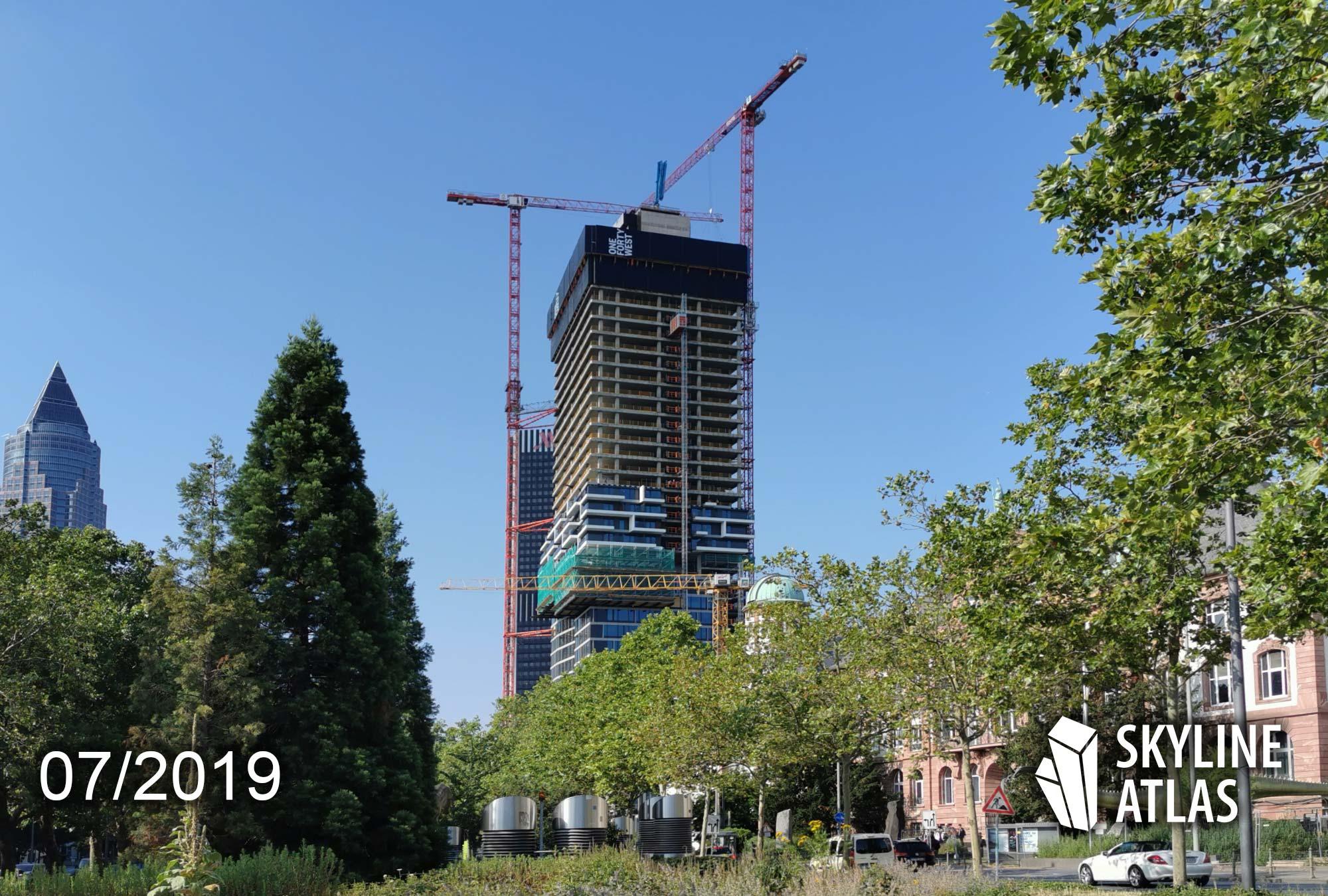 140 West in Frankfurt - ONE FORT WEST - Apartmenthochhaus in Frankfurt - Neubau Frankfurt - Neue Wohnungen und Hotel - im Bau Juli 2019