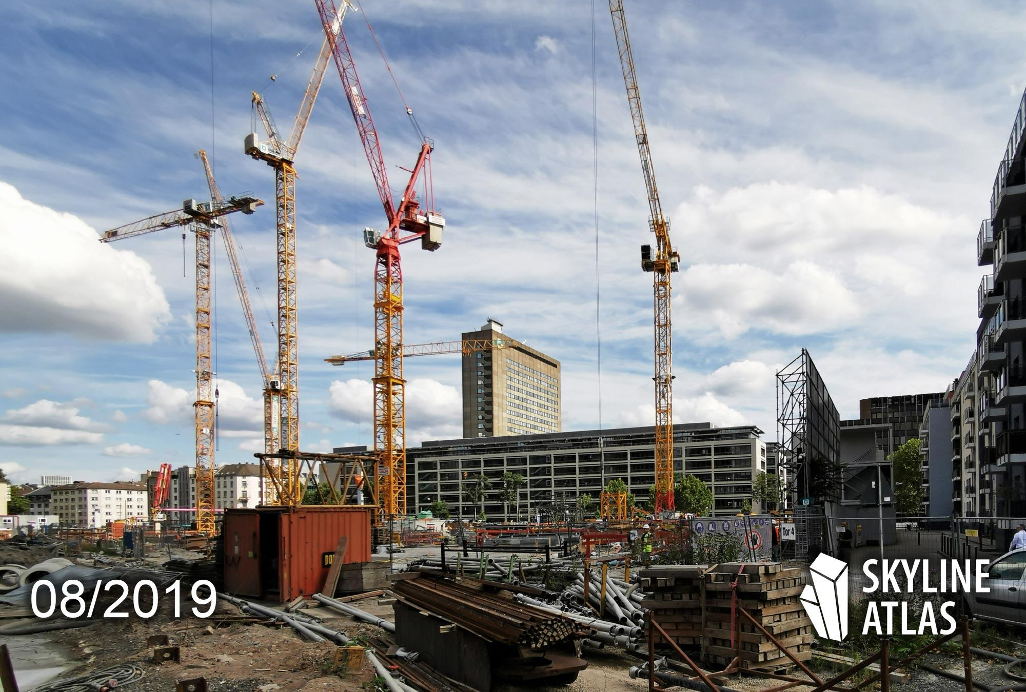 EDEN Frankfurt - Neubau - Wohnung kaufen - Wohnturm mit Eigentumswohnungen und Mietwohnungen - Architekturbüro JAHN - Baustelle August 2019