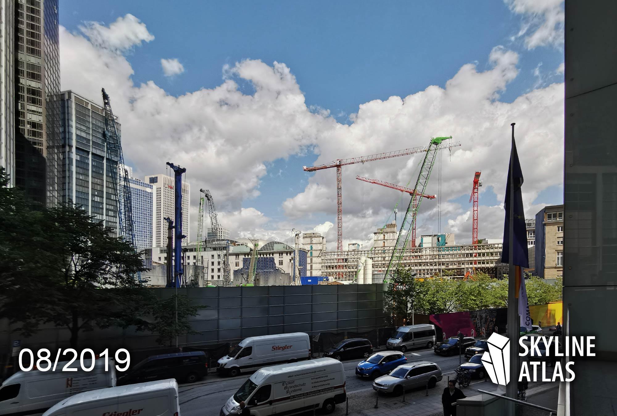4Frankfurt - Baustelle von FOUR Frankfurt - Immobilienprojekt von Groß und Partner - Hochhäuser Bankenviertel im Bau - Wolkenkratzer-Baustelle im August 2019