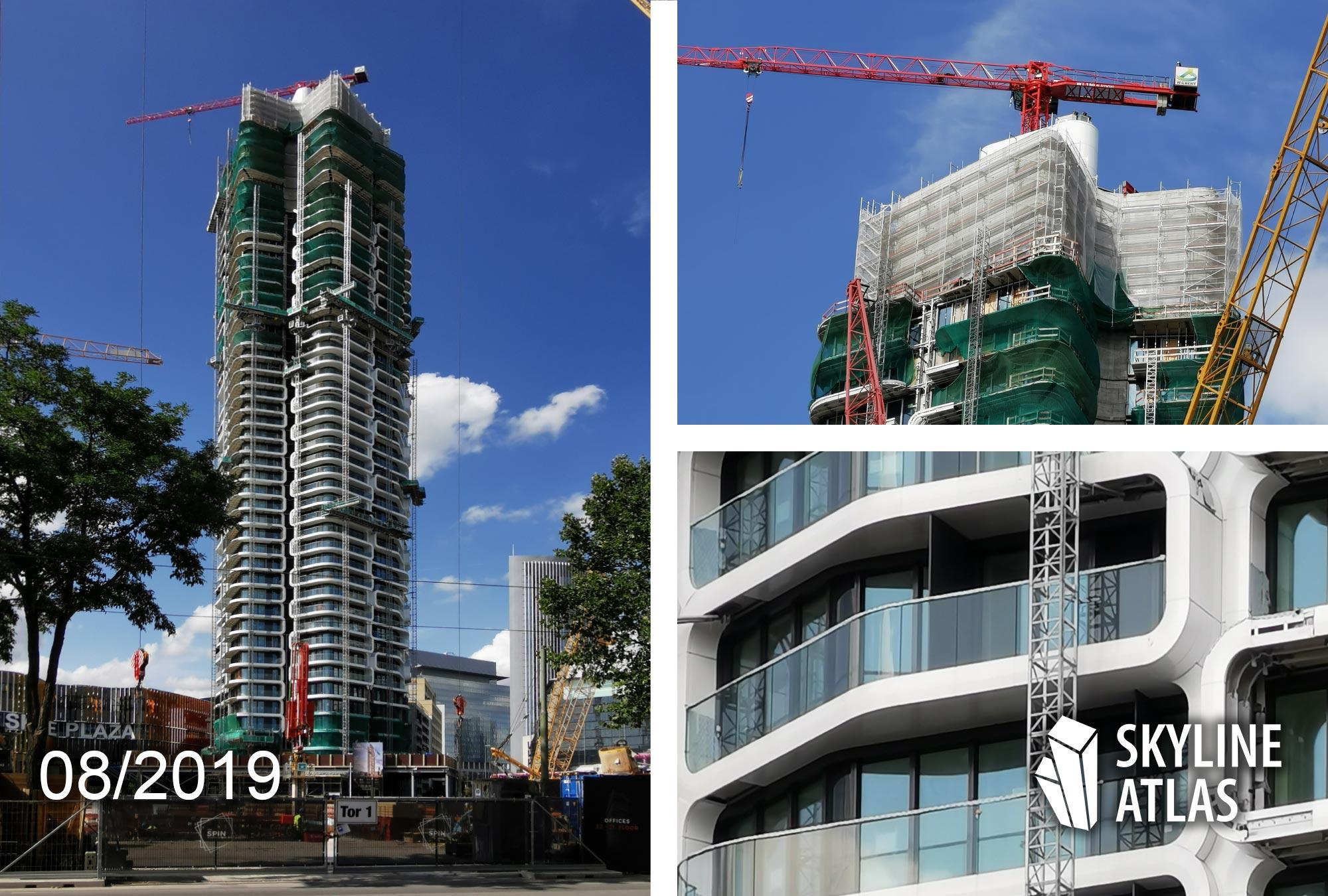 Foto Grand Tower Frankfurt - Architekt Magnus Kaminiarz - Projektentwickler GSP Städtebau - Wohnturm - Deutschlands höchstes Wohnhochhaus - Baustelle im August 2019
