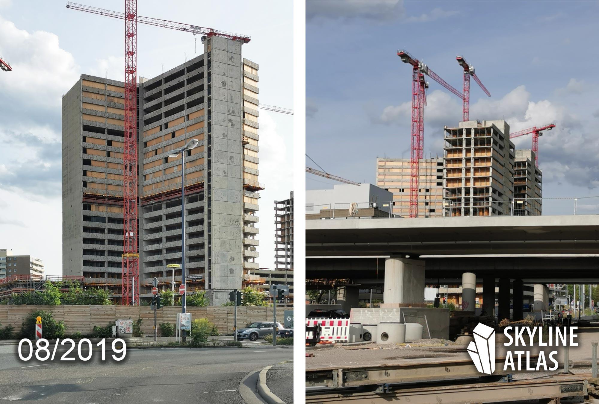 New Frankfurt Towers - Hochhäuser in Offenbach am Main - Kaiserlei Hochhaus im Bau - Projekt der CG Gruppe im August 2019