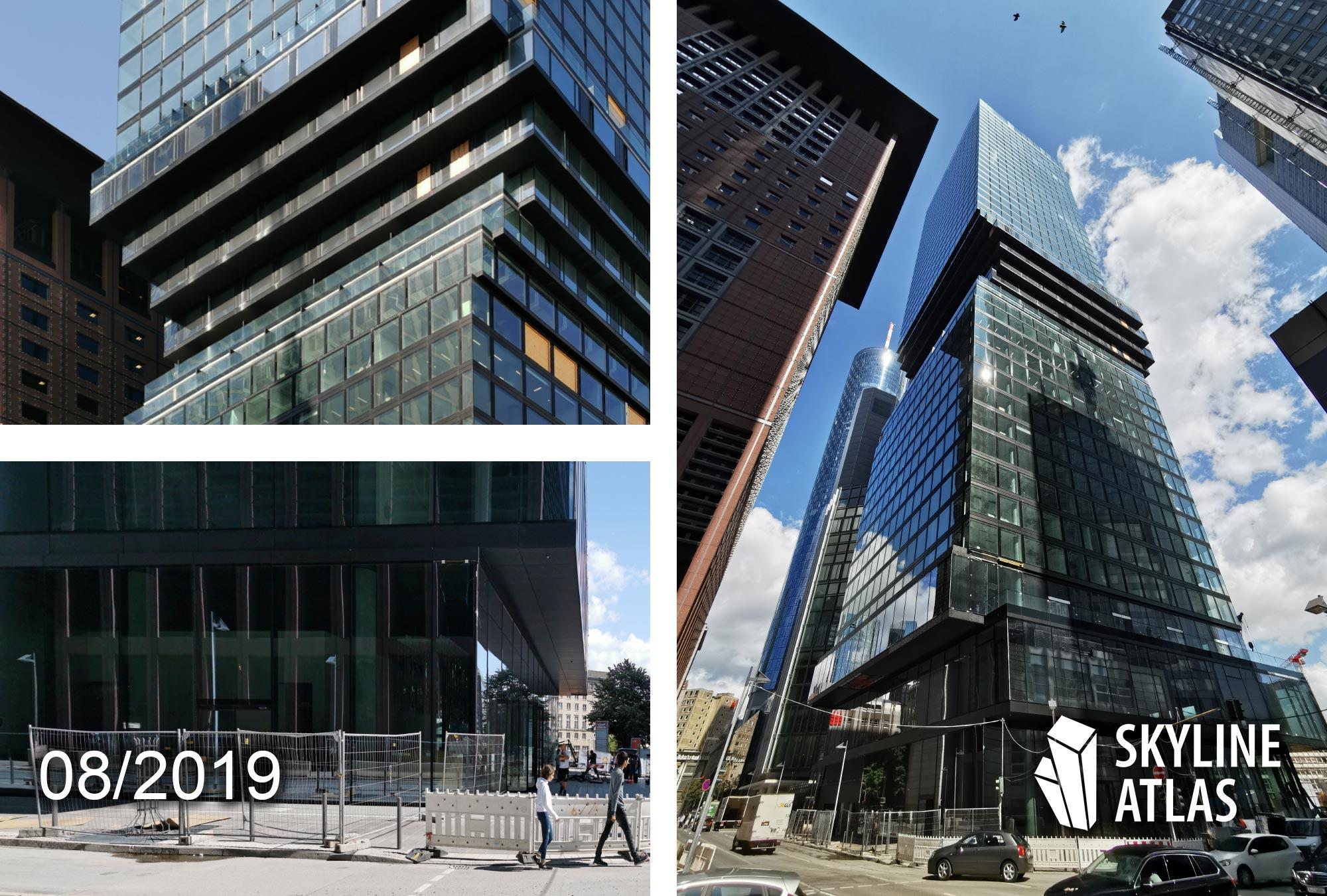 OmniTurm in Frankfurt - Neuer Mixed Use Wolkenkratzer im Bankenviertel - Hochhaus von BIG Bjarke Ingels Architekten - Baustelle August 2019