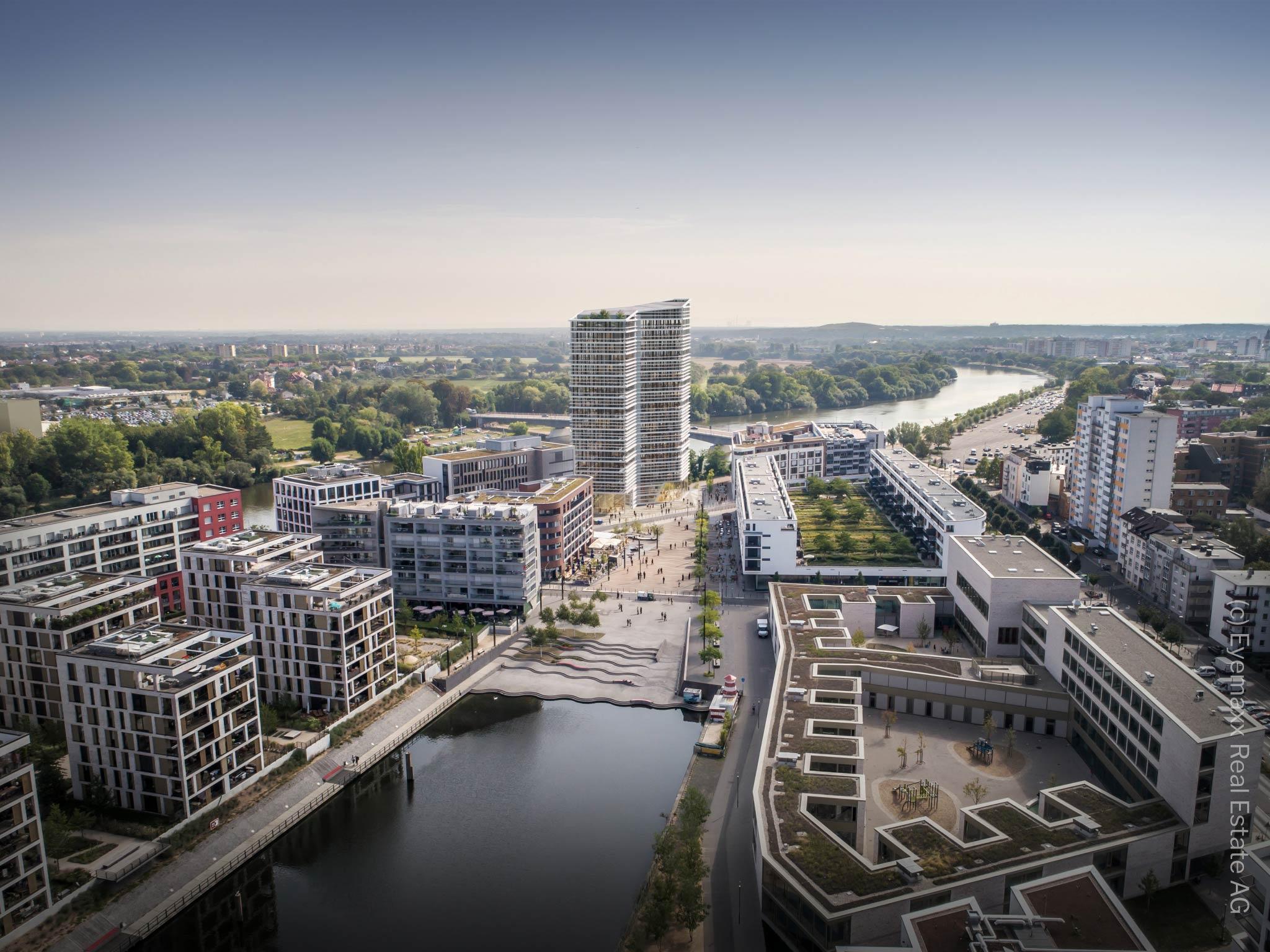 Riverside Office Tower Wayv - Main East Gate Offenbach - Neues Hochhaus Offenbach Animation - Hochhaus Offenbach Hafen von Eyemaxx