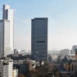 City-Haus in Frankfurt am Main - City-Hochhaus der Volksbanken Gruppe - Moderner Wolkenkratzer und Skyline Frankfurt
