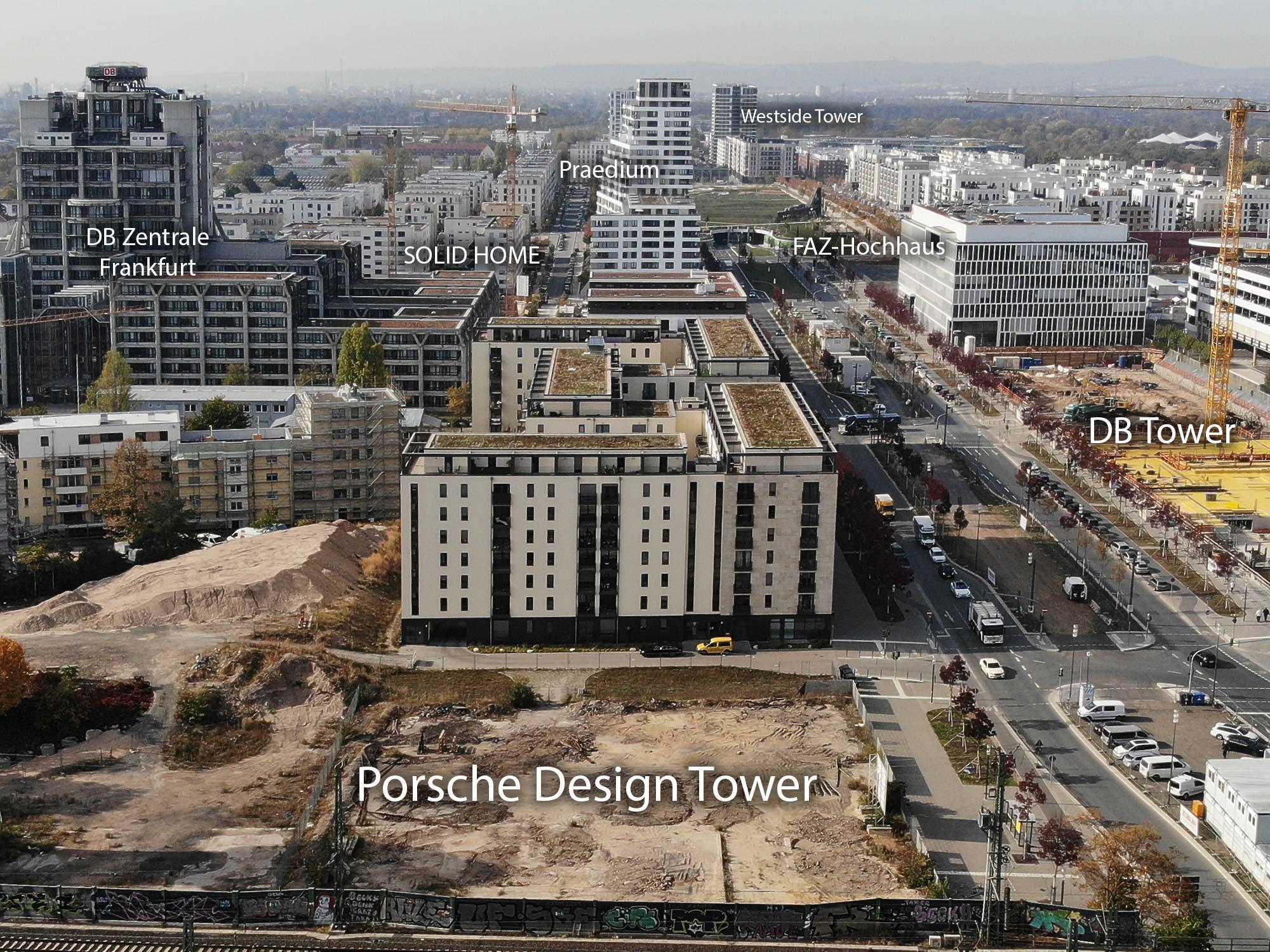 Westlicher Teil vom Europa-Viertel Frankfurt im Oktober 2018 - Verschiedene Baustellen und Hochhäuser im Überblick - Europagarten im Hintergrund