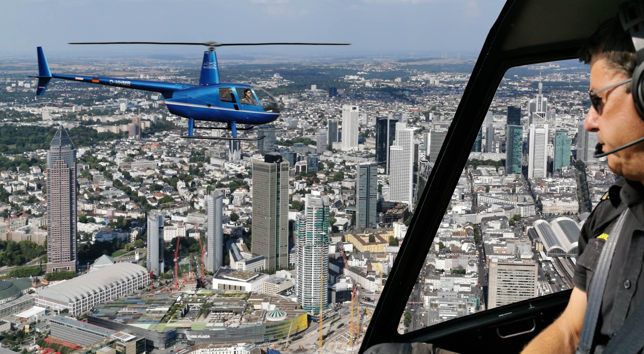 Frankfurt Helikopter Rundflug - mit dem Hubschrauber die Frankfurter Skyline abfliegen - Hochhäuser, Wolkenkratzer und Immobilien - Stadtführung aus der Luft