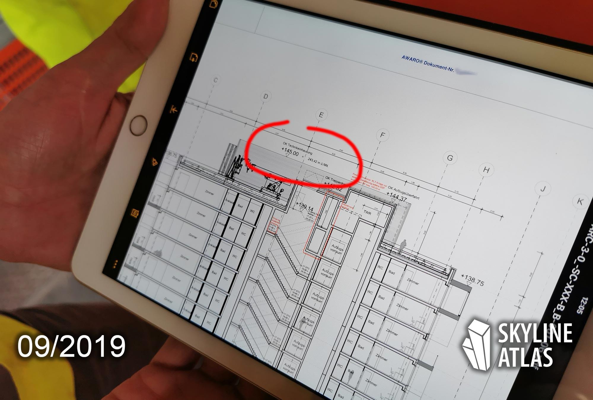 ONE FORTY WEST - Höhe - Gebäudehöhe - Schnitt - iPad - Planung - Zeichnung