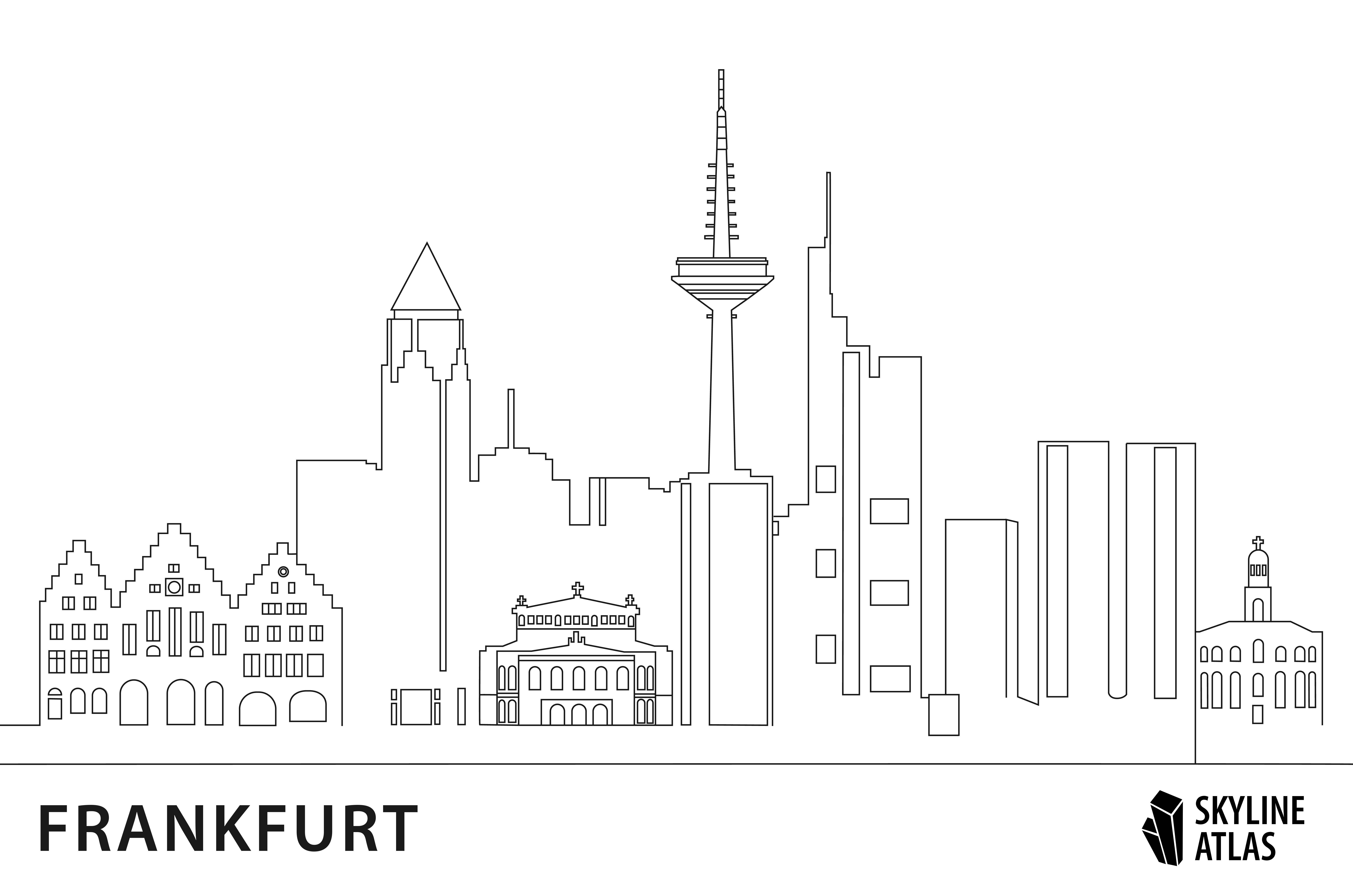 Ausmalbild Hochhäuser Frankfurt - Ausmalbilder Frankfurt