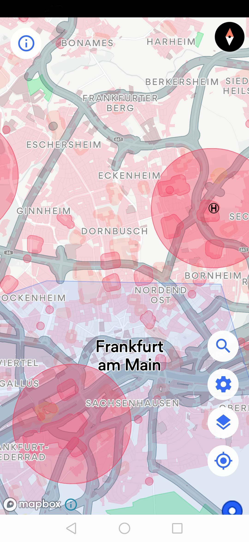 Frankfurt - Drohnenerlaubnis - Genehmigung für Drohnenflug - Karte - Kontrollzone in blau (hier darf man nur bis 50 Meter hoch steigen)
