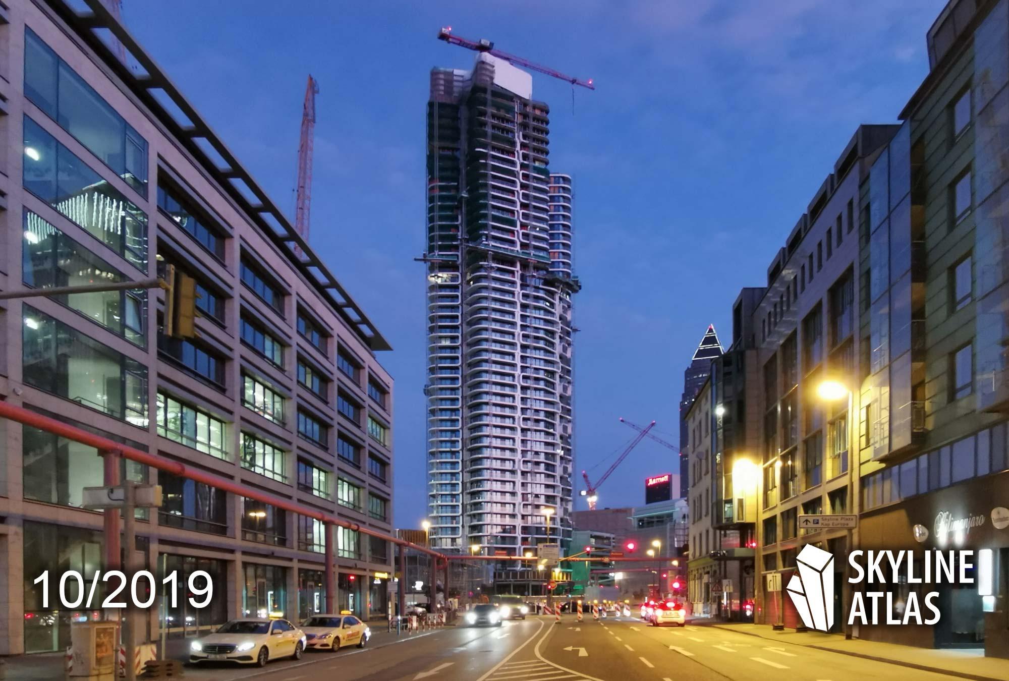Grand Tower in Frankfurt - Höchstes Hochhaus in Deutschland für Wohnzwecke - Höchster Wohnturm Deutschland - Oktober 2019 - im Bau
