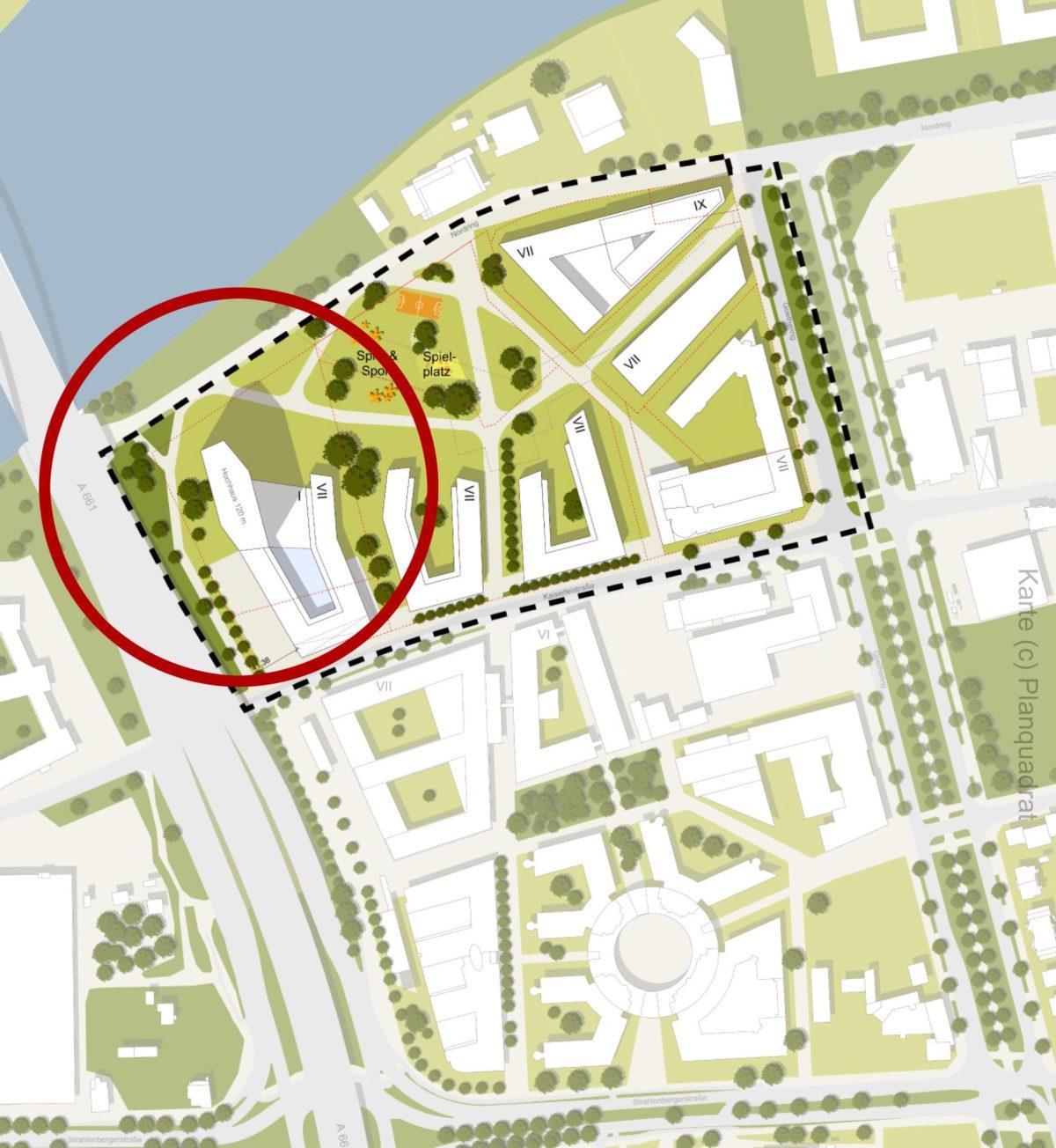 Masterplan Offenbach 2030 - Karte - Plan - Kaiserlei-Areal Nordkap - Hochhaus Offenbach geplant - Entwicklungsgebiet Kaiserlei