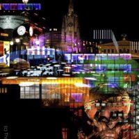 NEO NOIR - Frankfurt Skyline bei Nacht