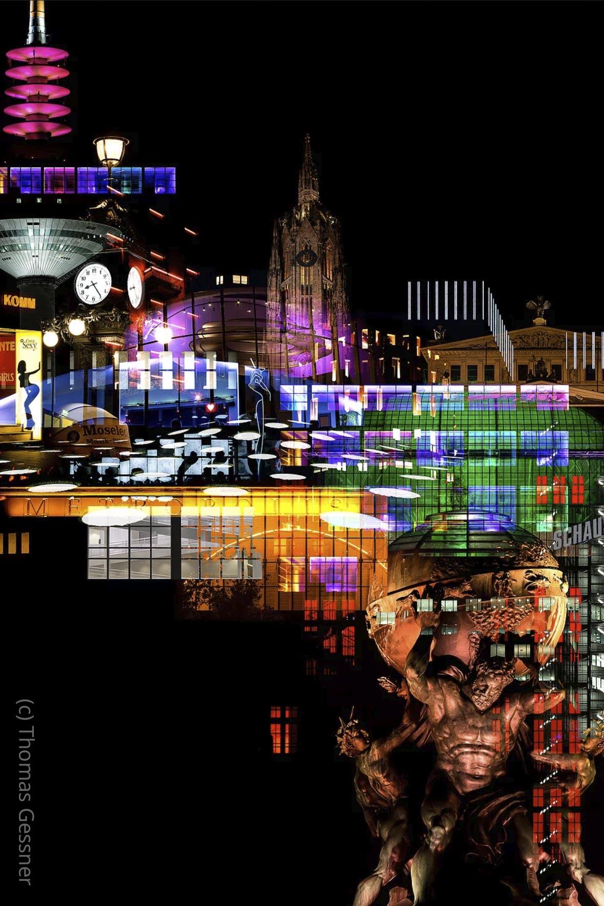 NEO NOIR - Fotokunst Frankfurt - Skyline abends - Hochhäuser in der Dunkelheit - Nachtaufnahmen der Wolkenkratzer - (c) Thomas Gessner