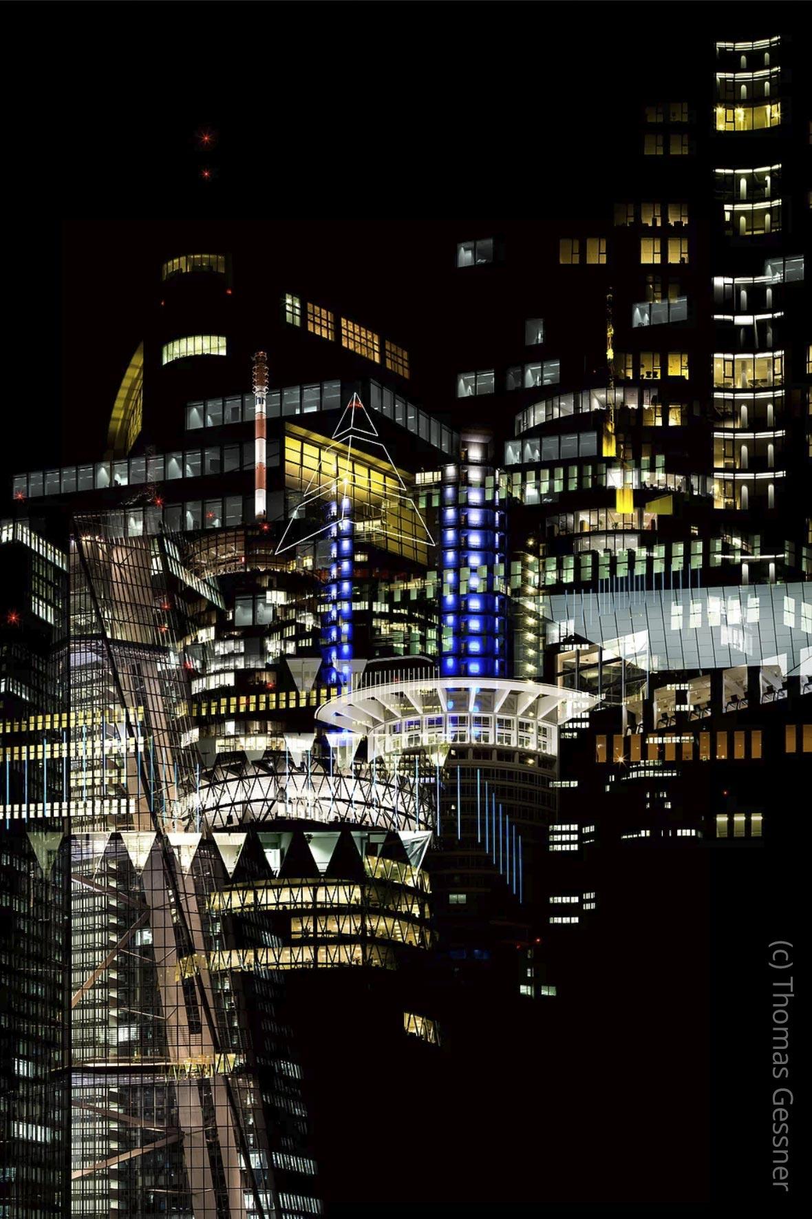 NEO NOIR - Hochhäuser in Frankfurt - Lichtkunst Frankfurt - Frankfurter Skyline bei Nacht - (c) Thomas Gessner