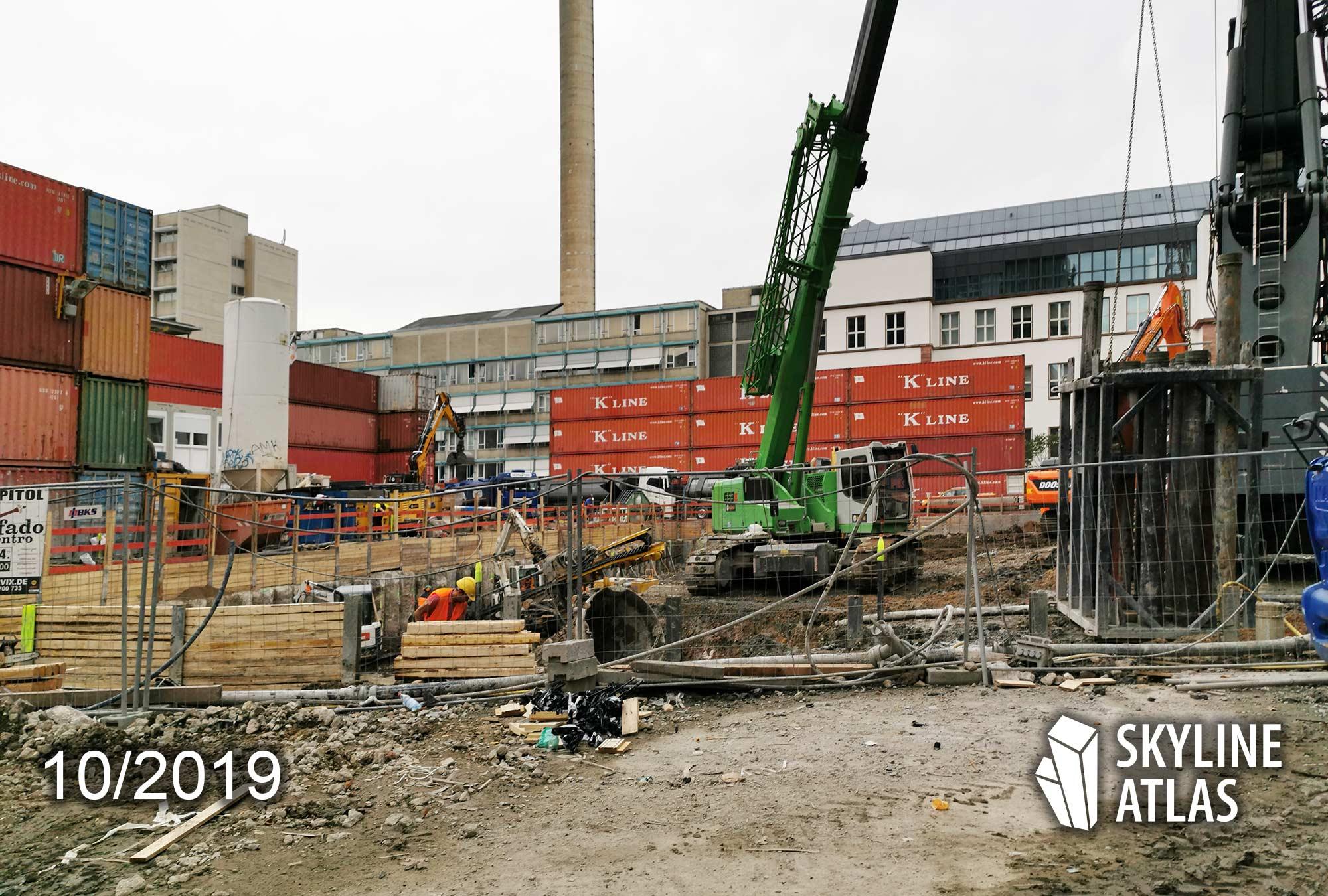 Ninty Nine West in Frankfurt am Main - Hochhaus 99 West - Baustelle Bürohochhaus - Oktober 2019