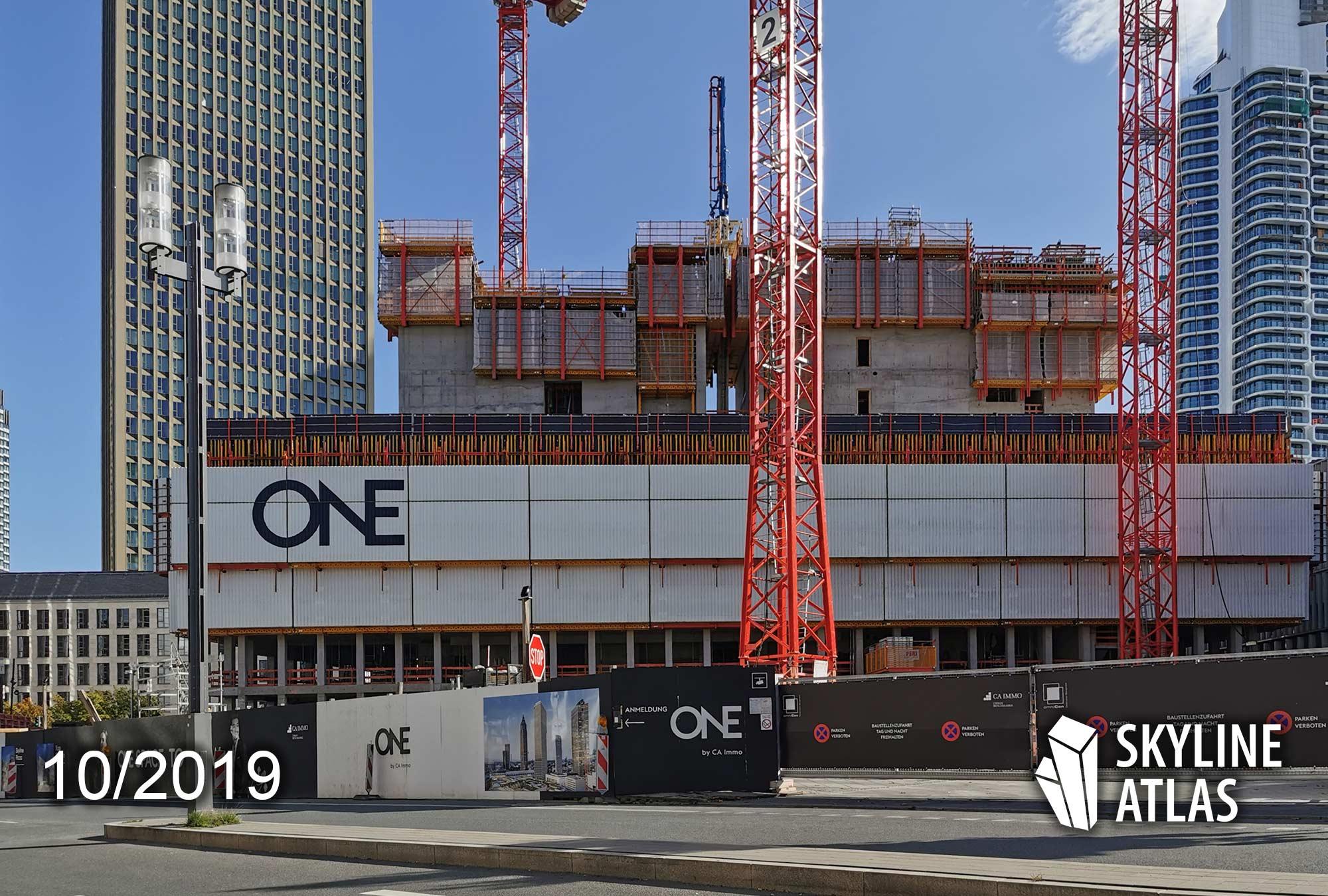 ONE GOOD IDEA - Hochhaus ONE in Frankfurt - Wolkenkratzer ONE - ONE Hochhaus Messe - Baustelle Oktober 2019 - Projekt der CA Immo