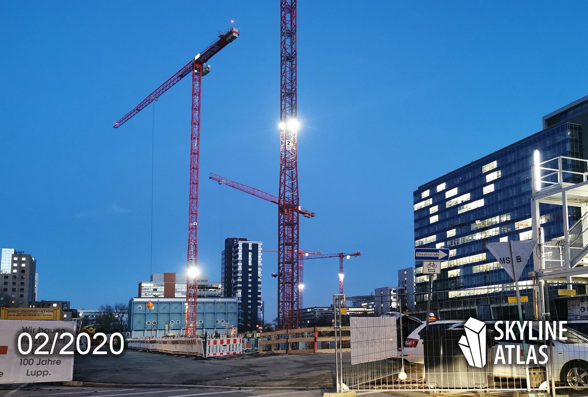 DEKA Neubauprojekt Frankfurt - neues Bürogebäude DEKA Fonds im Lyoner Viertel - Baufortschritt Februar 2020