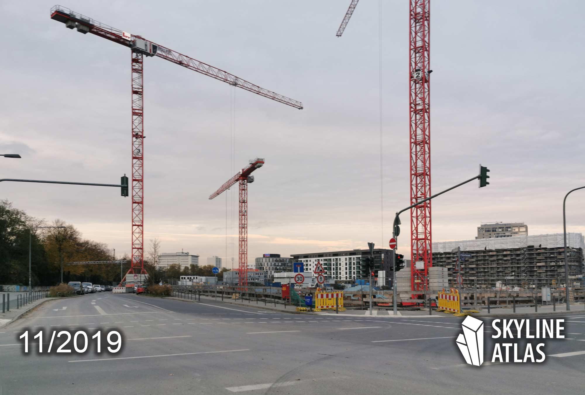Hafenpark Quartier Baufeld Süd: links auf der Ecke entsteht das Scandic Hotel - rechts die Eigentumswohnungen - Hafen-Park-Quartier Frankfurt - Baustelle Nov 2019