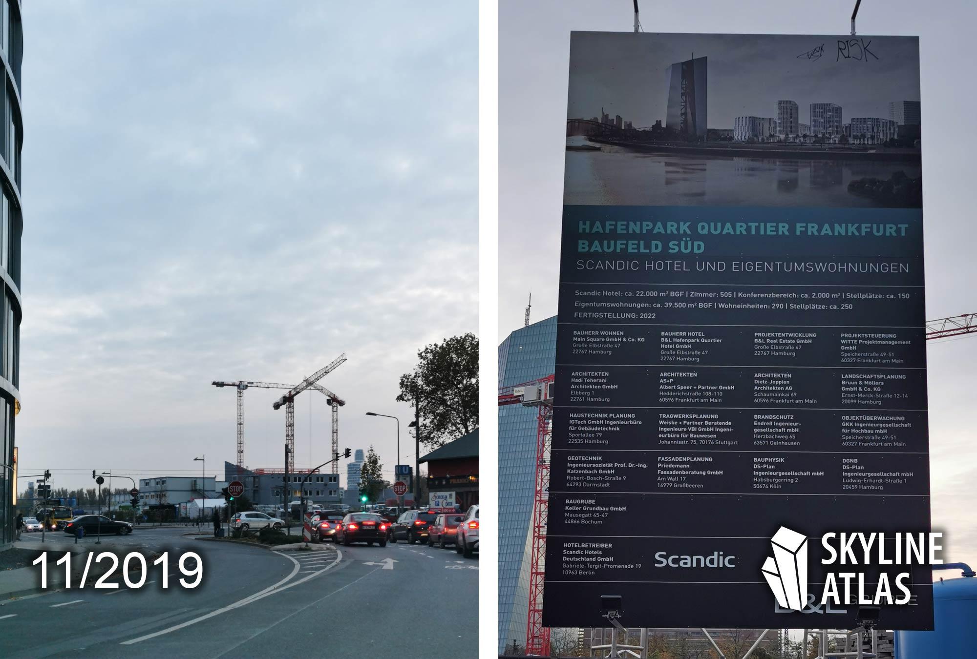 Hafenpark Quartier in Frankfurt am Main - Baugebiet Frankfurt Osten - Projekt nahe der EZB und Hafenpark - Baustelle November 2019