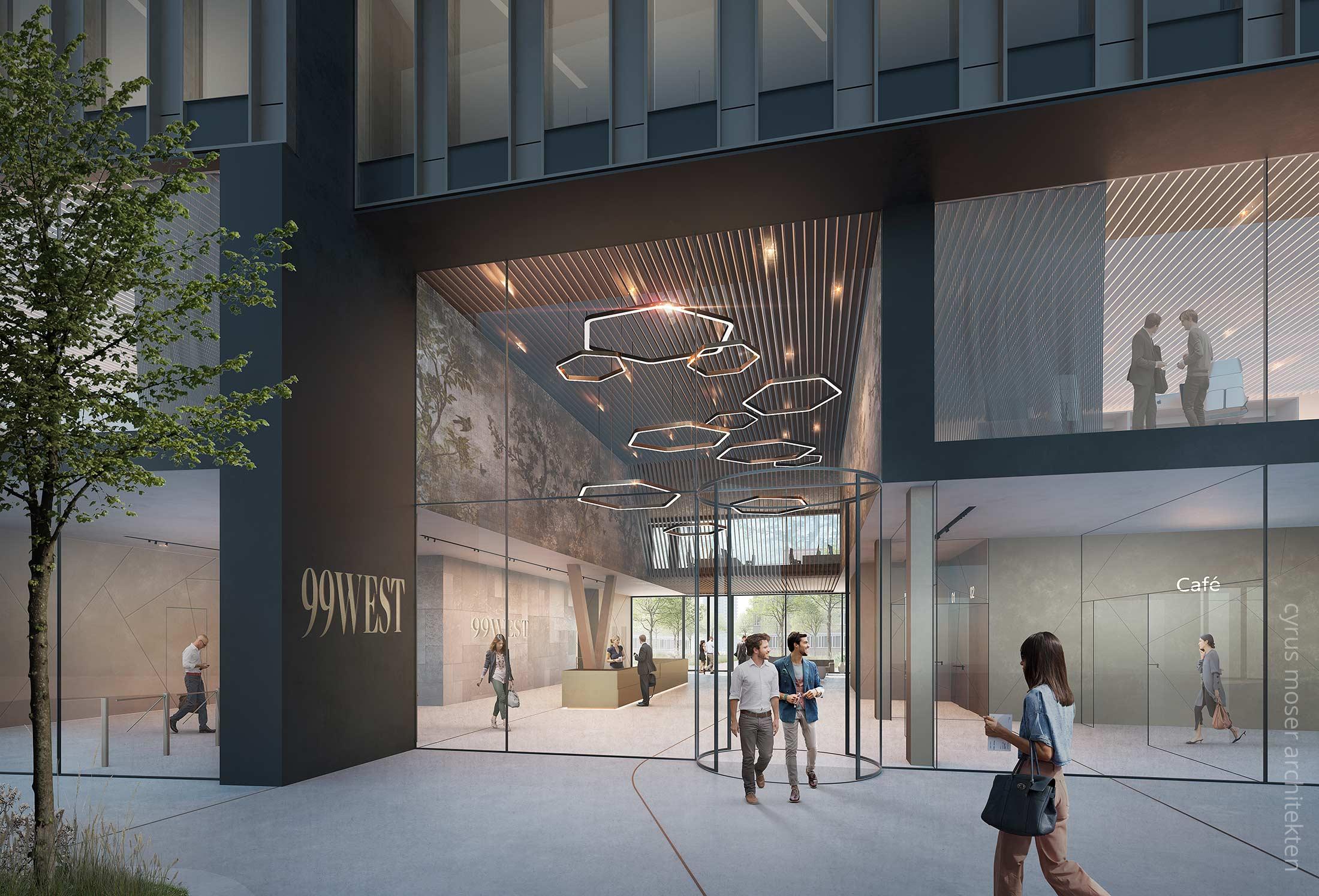 Ninty Nine West Tower - Hochhaus CMA Architekten - Neubau Hochhaus Büroturm - Eingangsbereich Rendering