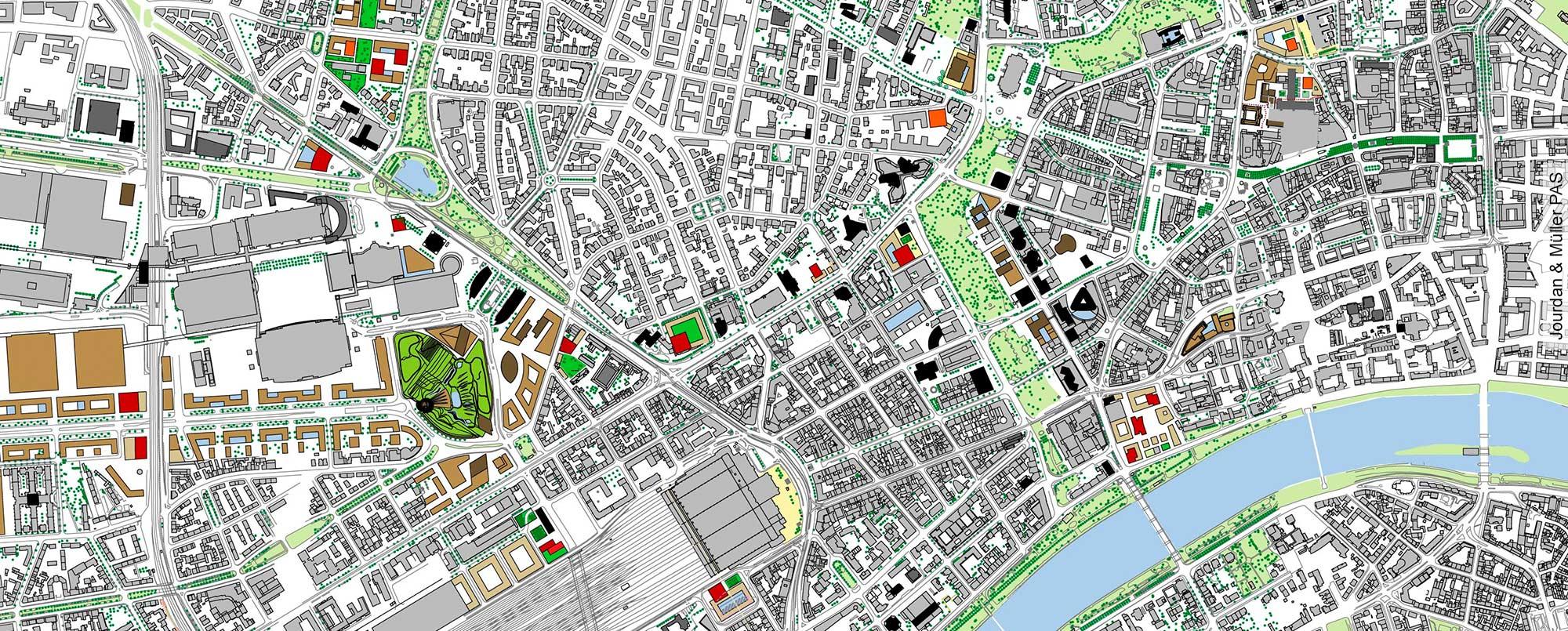 Auszug aus Übersichtskarte Hochhausentwicklungsplan 2008 Jourdan& Müller PAS - für Stadt Frankfurt Planungsamt