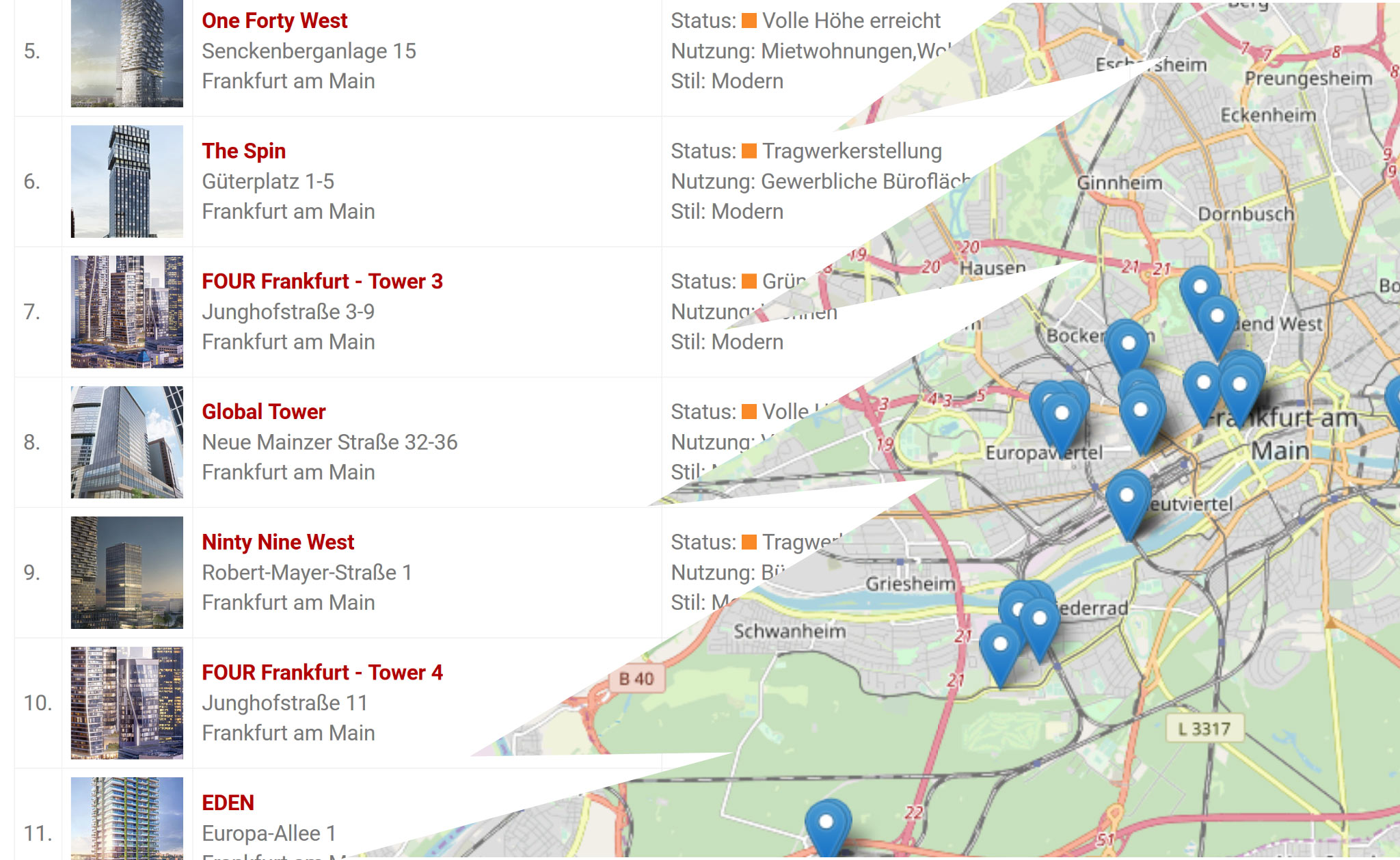 Hochhäuser Frankfurt - Liste und Karte - Hochhauskarte Frankfurt
