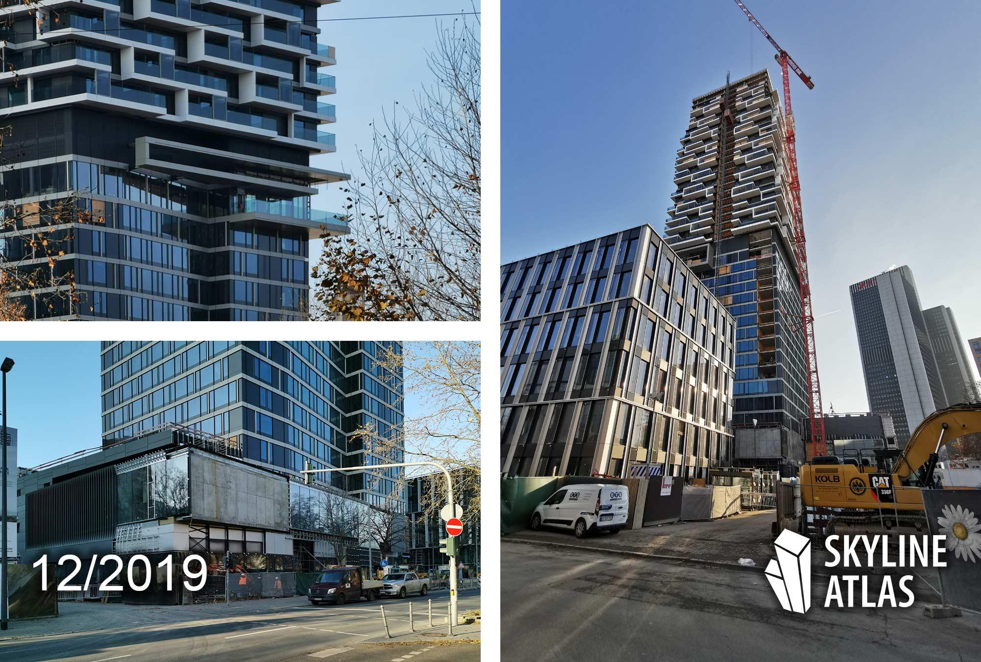 One Forty West - 140W Frankfurt - 140 West - Baufortschritt - Hochhaus Baustelle - Bauarbeiten Dezember 2019 - Hochhausbaustelle