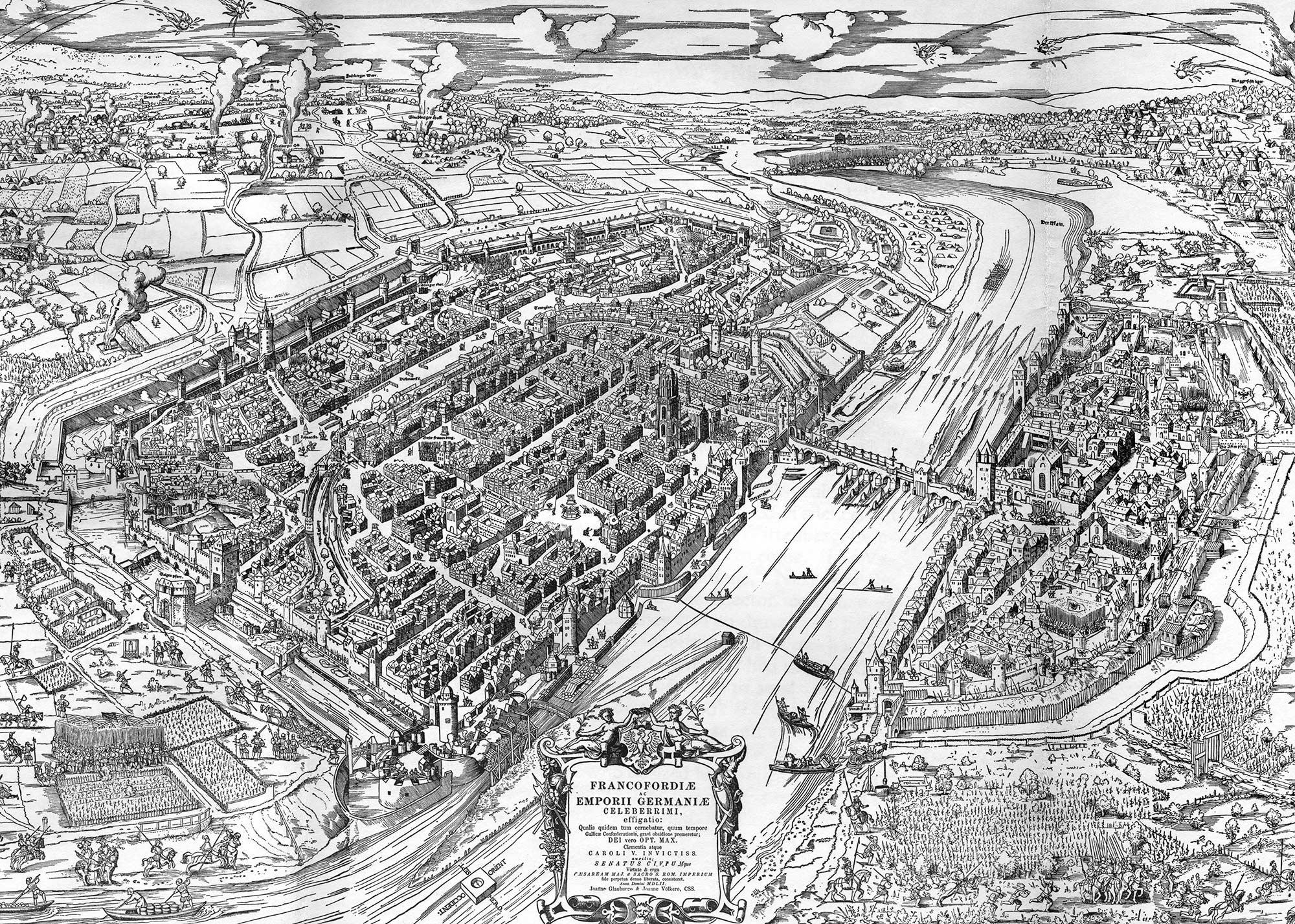 Frankfurter Stadtbefestigung im Mittelalter - Stadtmauer Frankfurt