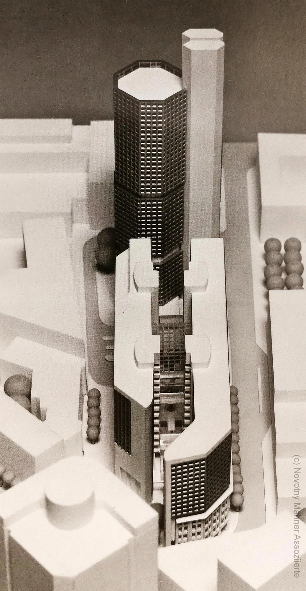 Nicht gebautes Helaba Hochhaus Neue Mainzer Strasse von N+M Architekten Offenbach - vorgelegt circa 1985