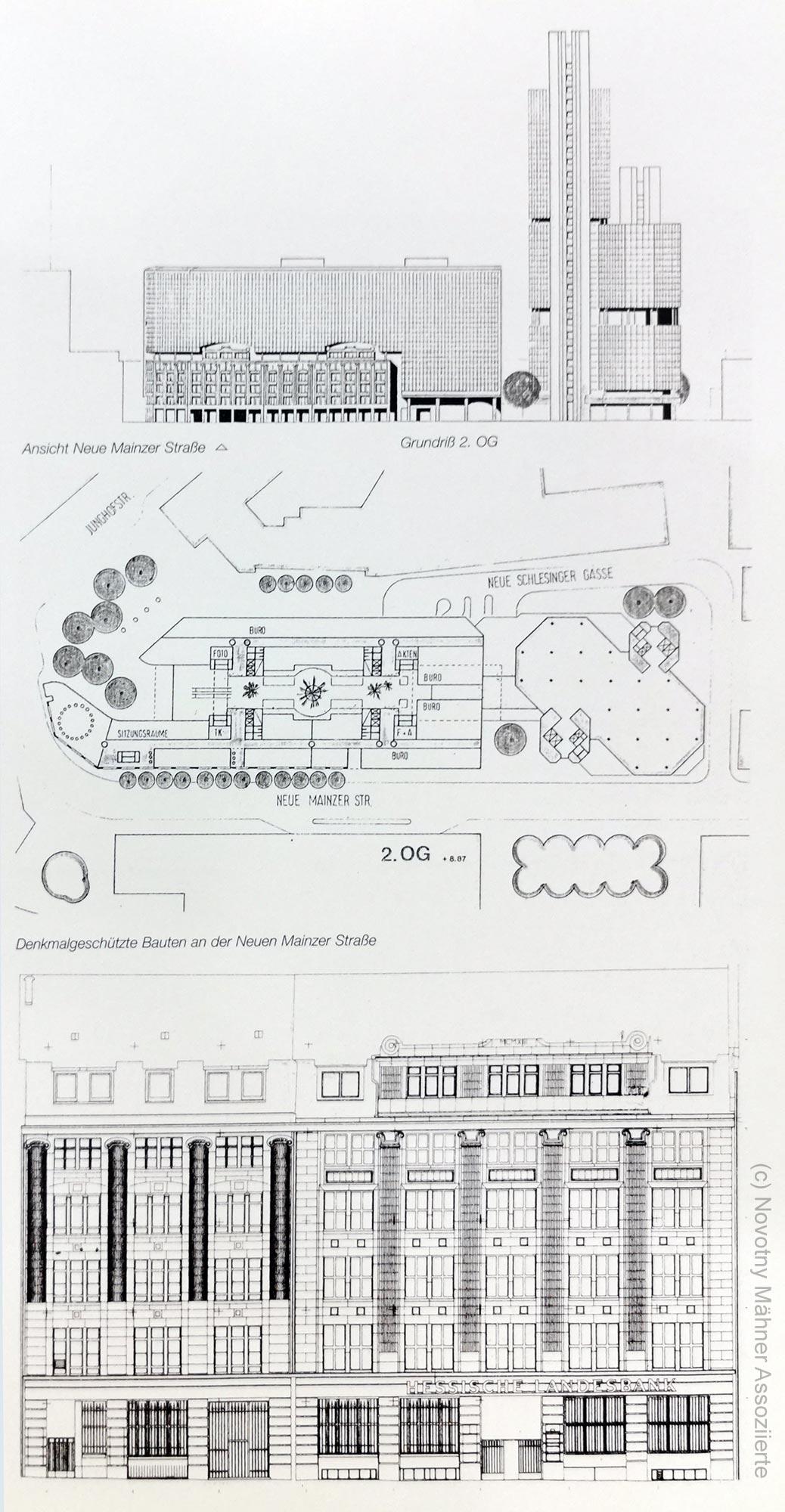 Entwurf für ein nie gebautes Hochhaus der Helaba an der Neuen Mainzer Straße - von Novotny Mähner Assoziierte