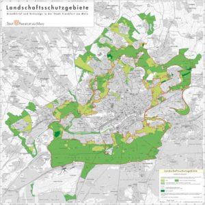 Alle grüne markierten Flächen gehören zum Grüngürtel in Frankfurt am Main - hier ist eine städtische Bebauung nur eingeschränkt möglich