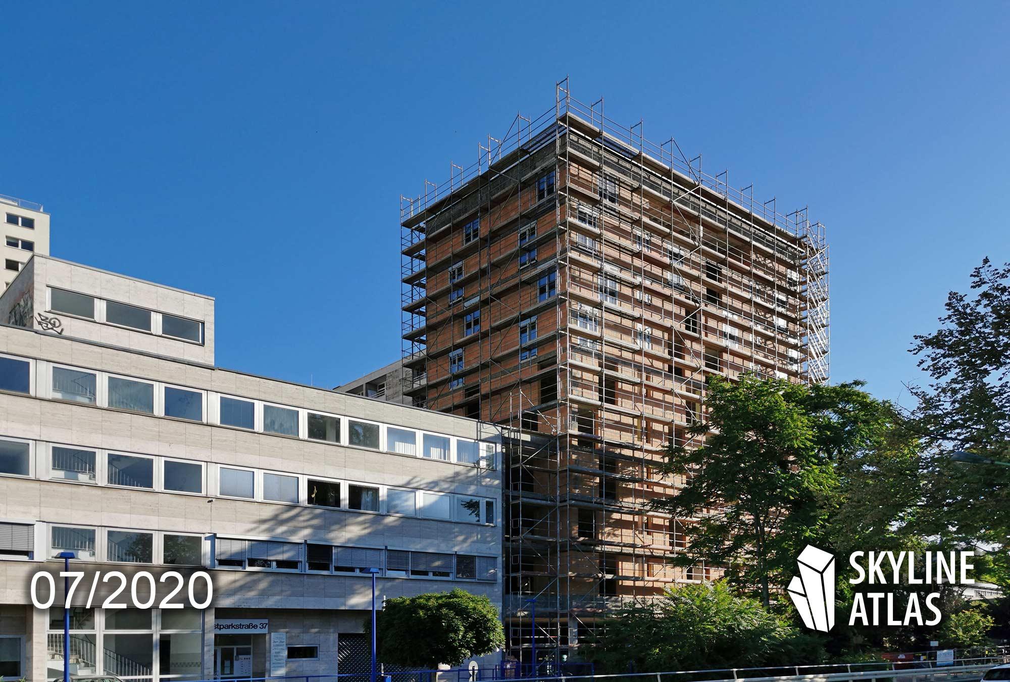Hochhaus am Ostpark Frankfurt - Panorama Residenz - Neubau Wohnungen Frankfurt - Baufortschritt Juli 2020