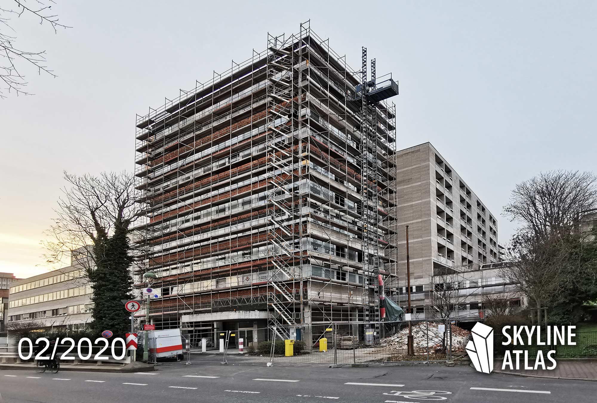 Panorama Residenz Frankfurt - Ostparkstraße 45 - Wohnturm - Eigentumswohnungen Ostend - Karl Dudler Architekten - Baufortschritt Februar 2020 - Baustelle