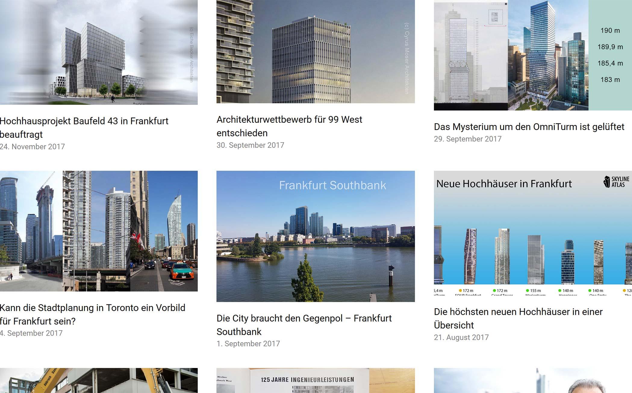 Frankfurt Immobilien Nachrichten - Skyline News Frankfurt - Informationen über neue Bauvorhaben