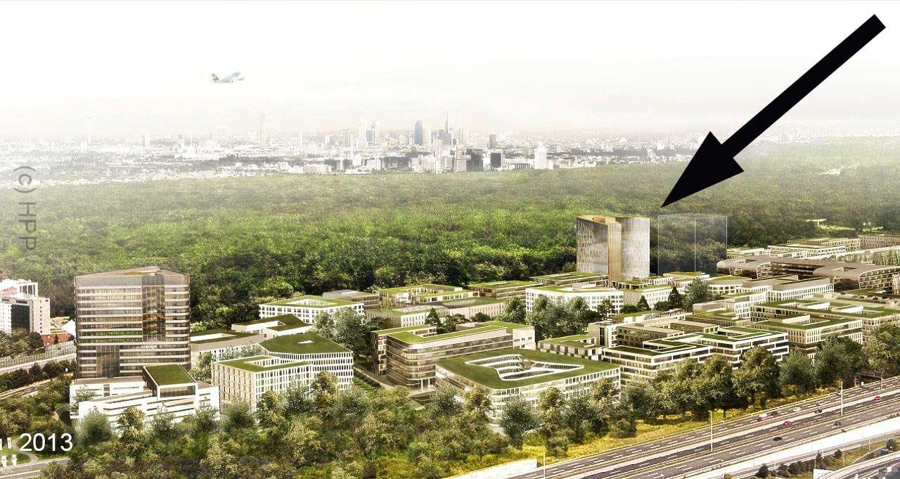 Gateway Gardens Entwicklungsgebiet nahe dem Frankfurter Flughafen mit Planungsstand aus dem Jahr 2013 - darin ist auch eine Studie für das neue Hochhaus enthalten