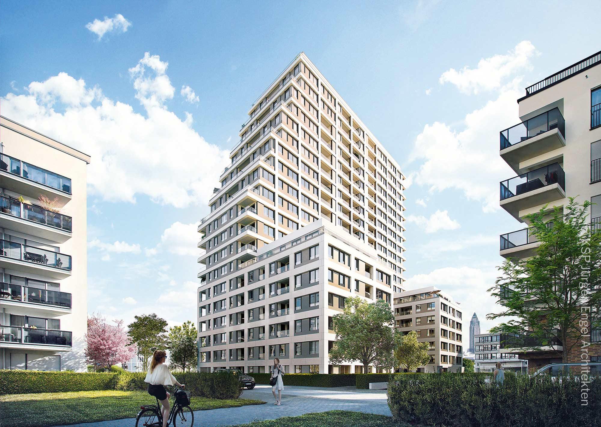 Neubau Europaviertel - Neues Wohnhochhaus - Eigentumswohnungen Frankfurt 2020 - Solid Home - KSP Juergen Engel
