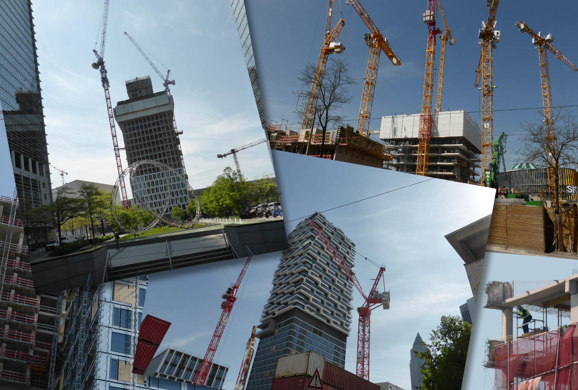 Frankfurt Bautätigkeit Hochhäuser - Hochhausbaustellen Frankfurt - Baufortschritt Wolkenkratzer im April 2020