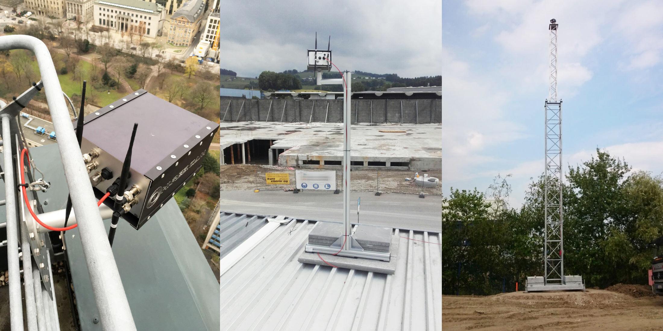 Baustellen-Kamera Halterungen - Webcam-Halterung - Baustellencam Wandhalterung - Webcam am Mast - Baustellencam auf Dach - Baustellenkamera-Installation Beispiele